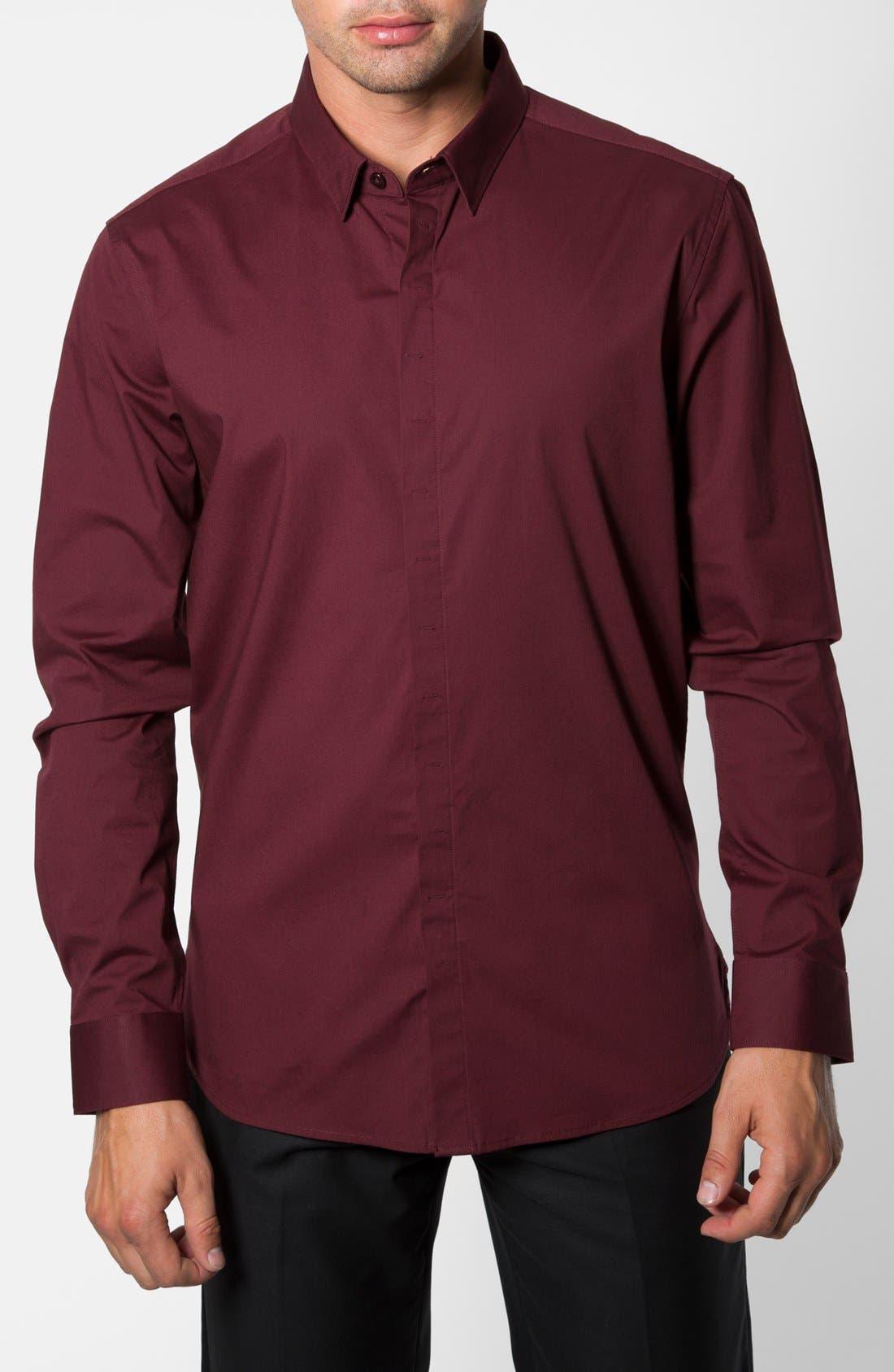 'Peace Train' Trim Fit Woven Shirt,                             Main thumbnail 1, color,                             Maroon
