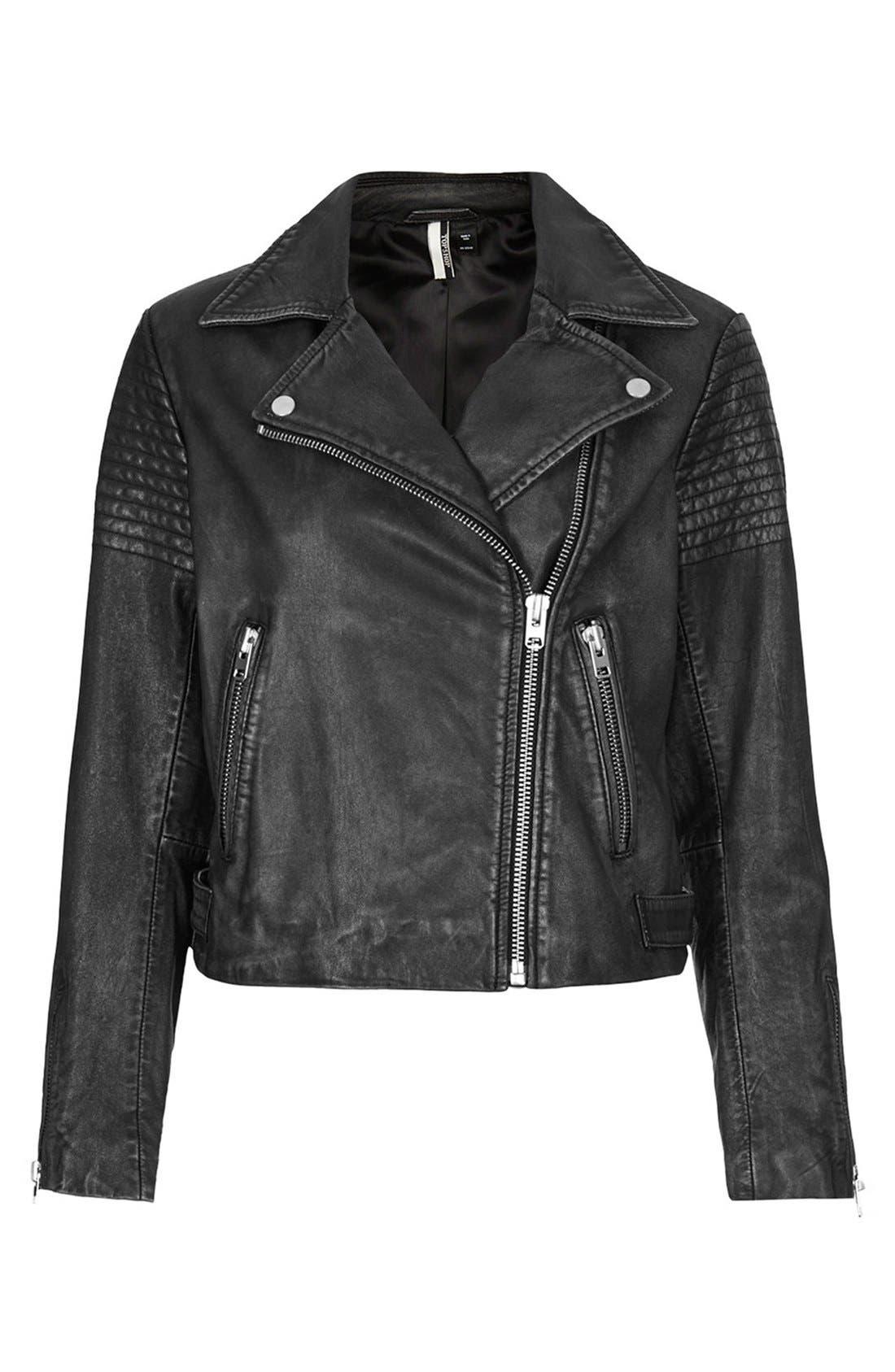Alternate Image 3  - Topshop Sheepskin Leather Biker Jacket