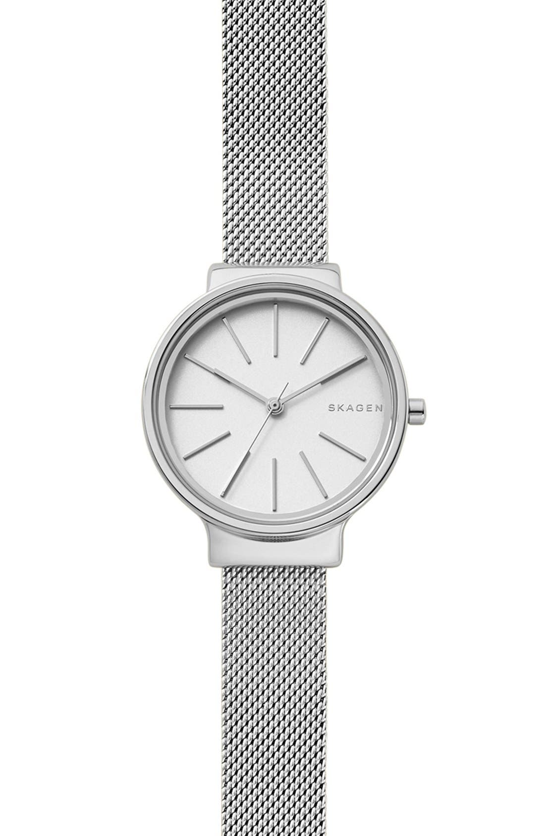 Ancher Strap Watch, 30mm,                         Main,                         color, Silver/ White