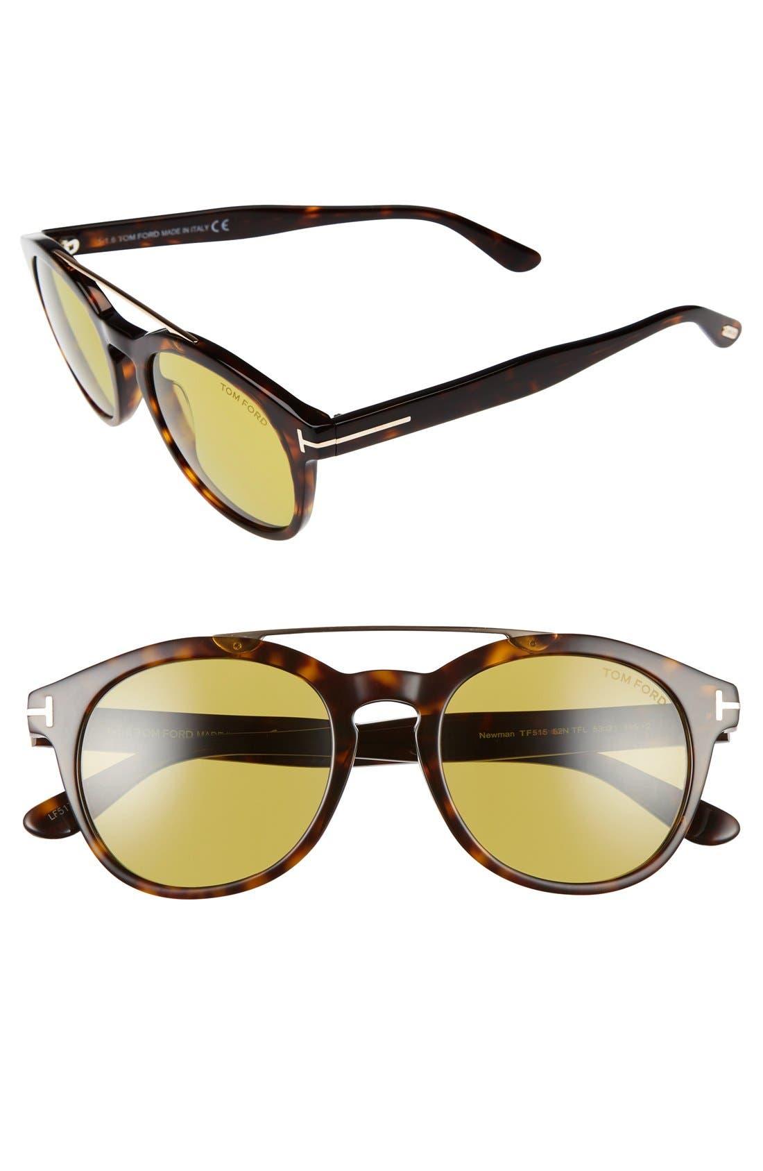Newman 53mm Sunglasses,                         Main,                         color, Havana/ Rose Gold/ Green
