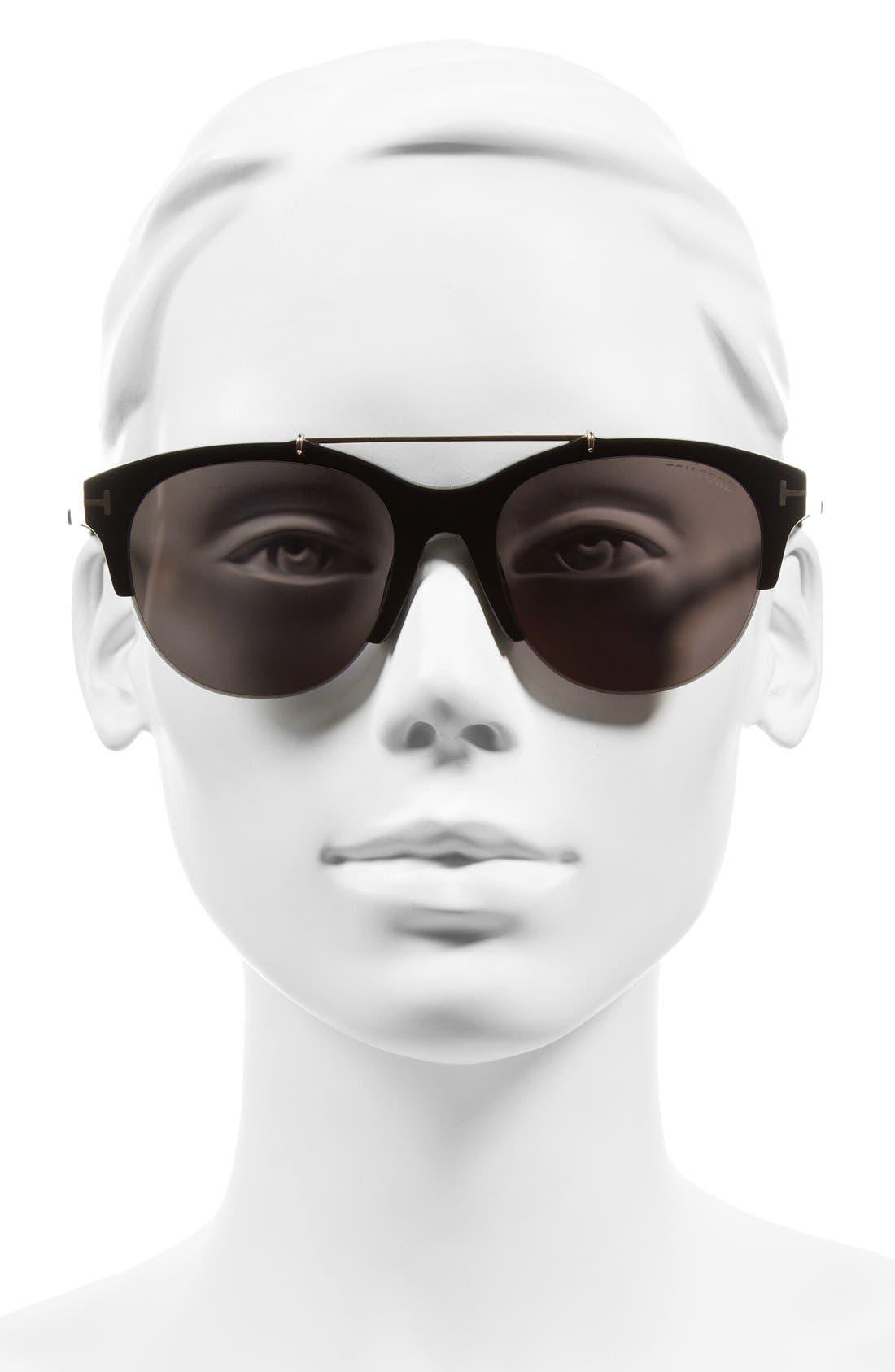 Adrenne 55mm Sunglasses,                             Alternate thumbnail 2, color,                             Black/ Rose Gold/ Smoke