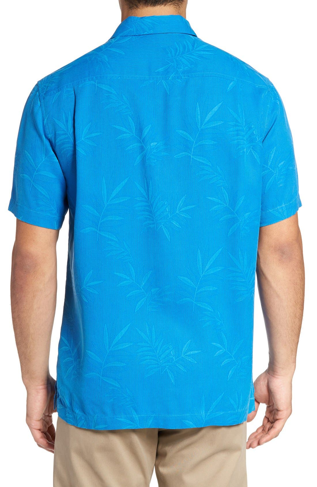 Luau Floral Silk Shirt,                             Alternate thumbnail 2, color,                             Download Blue