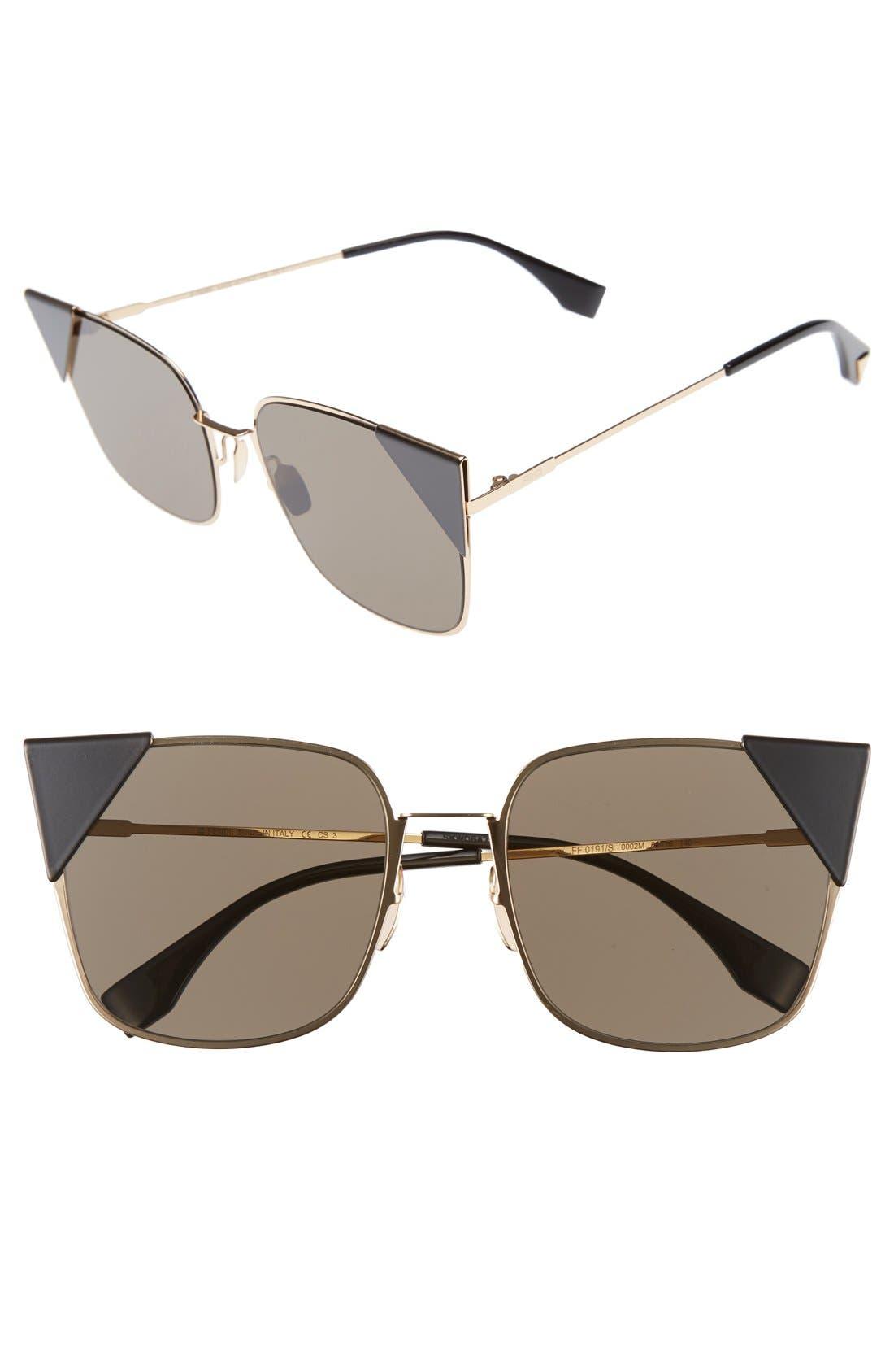 Alternate Image 1 Selected - Fendi 55mm Tipped Cat Eye Sunglasses