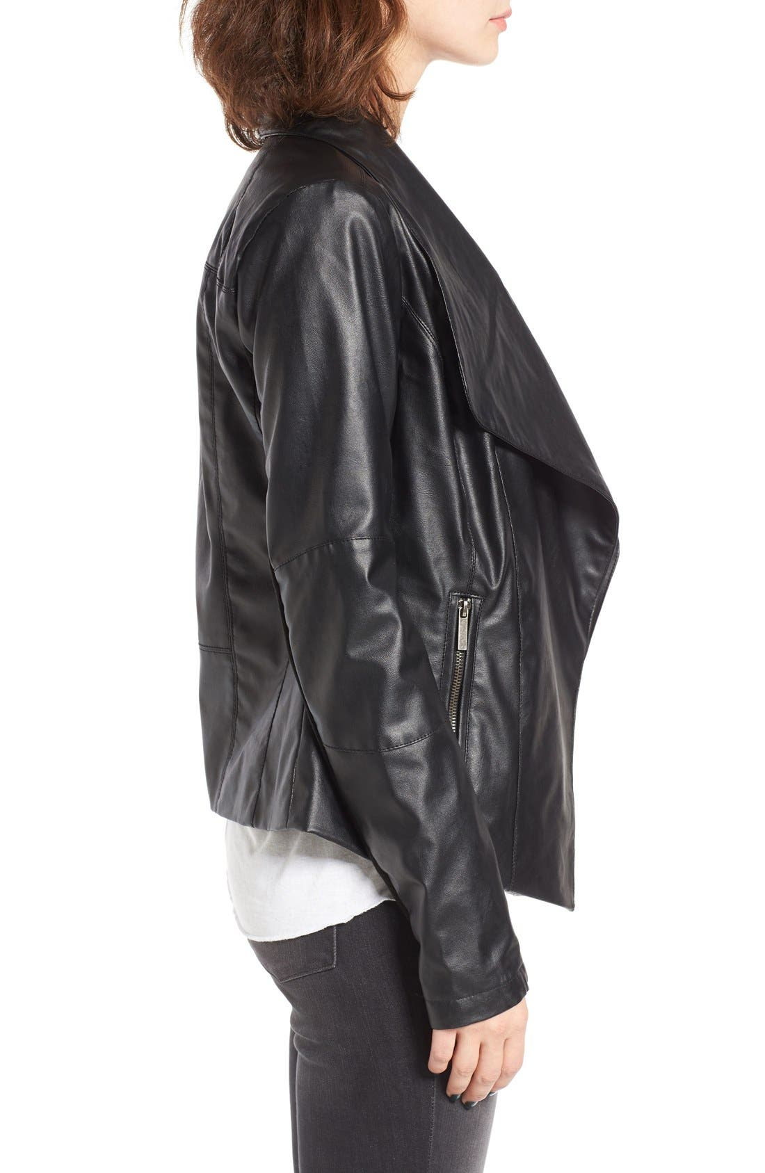 Alternate Image 3  - Coffee Shop Drape Faux Leather Jacket