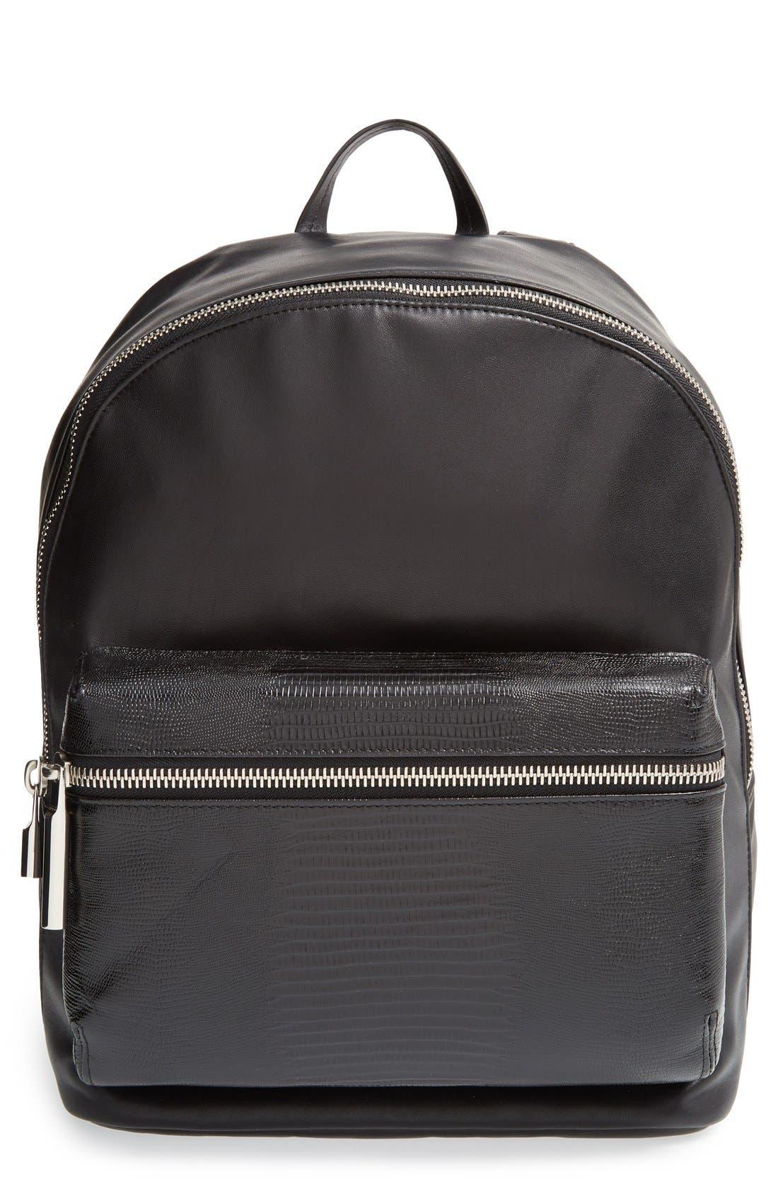Alternate Image 1 Selected - Elizabeth and James 'Cynnie' Lizard Embossed Leather Backpack