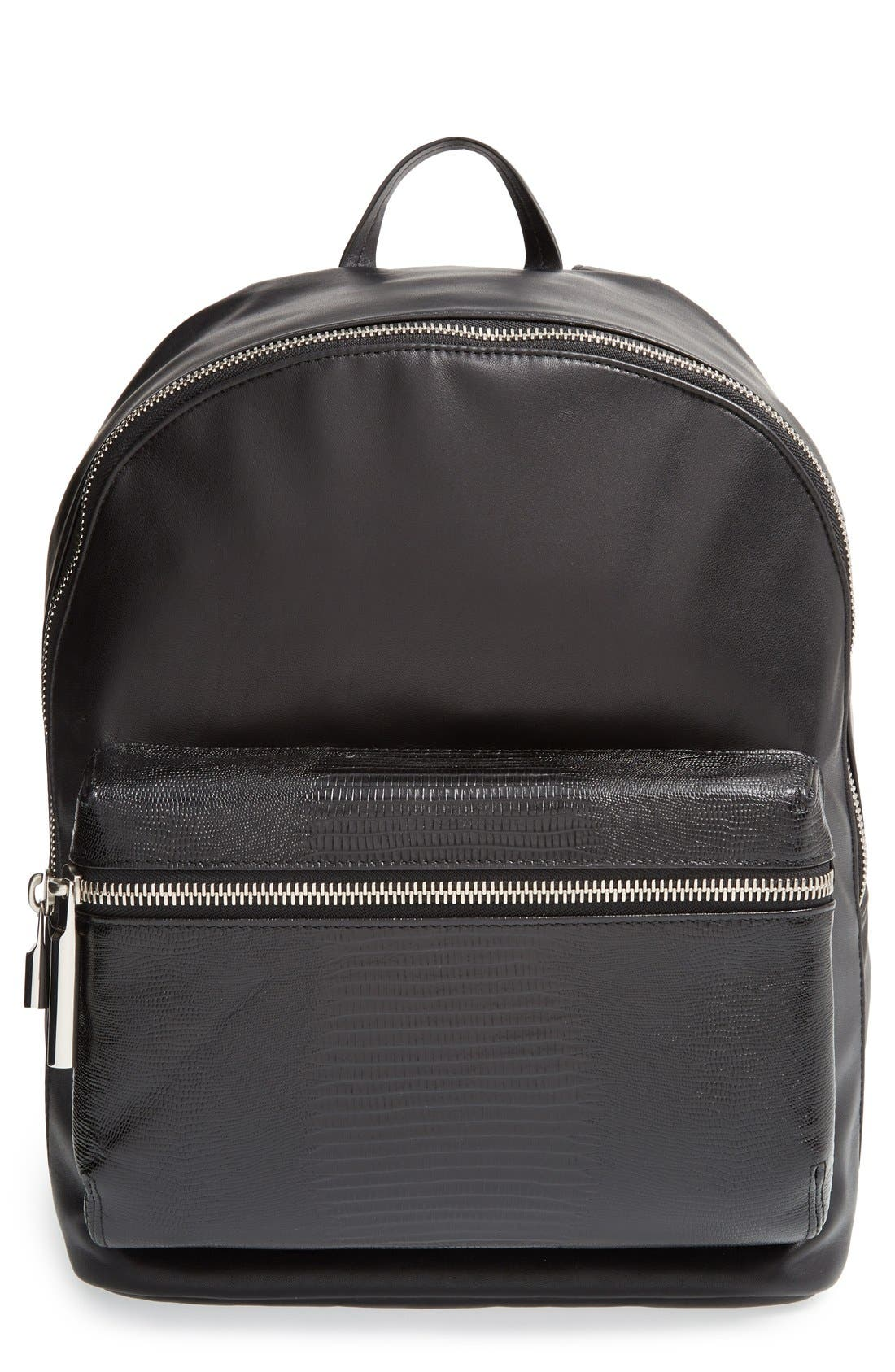 Main Image - Elizabeth and James 'Cynnie' Lizard Embossed Leather Backpack