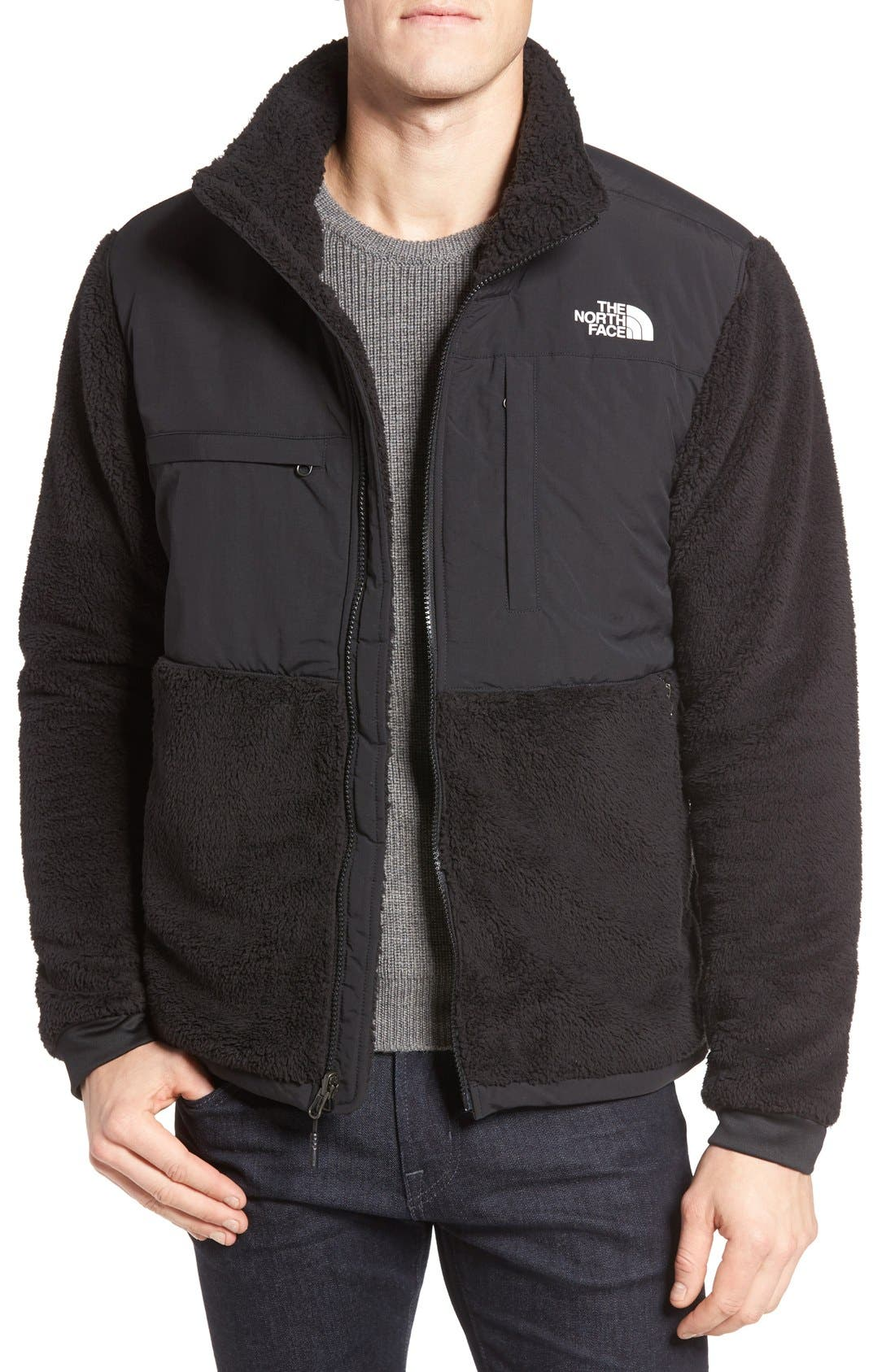 Novelty Denali Jacket,                             Main thumbnail 1, color,                             Tnf Black Sherpa/ Tnf Black