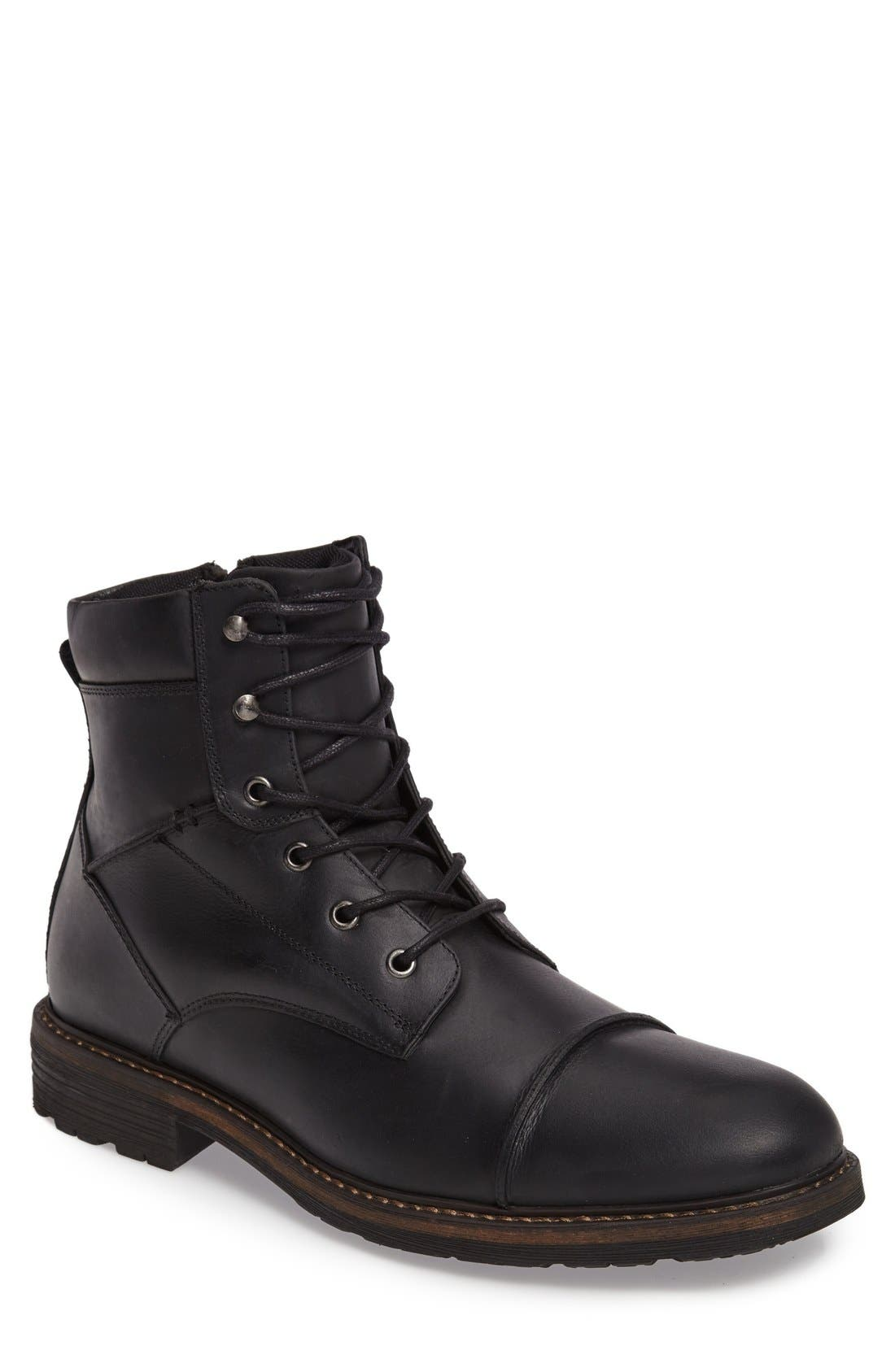 Derek Cap Toe Boot,                         Main,                         color, Black Leather