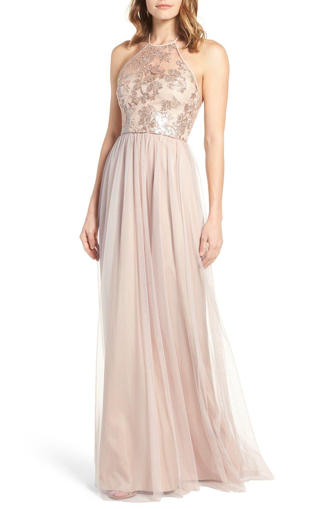 AMSALE Sheridan Sequin Halter Dress in Fawn