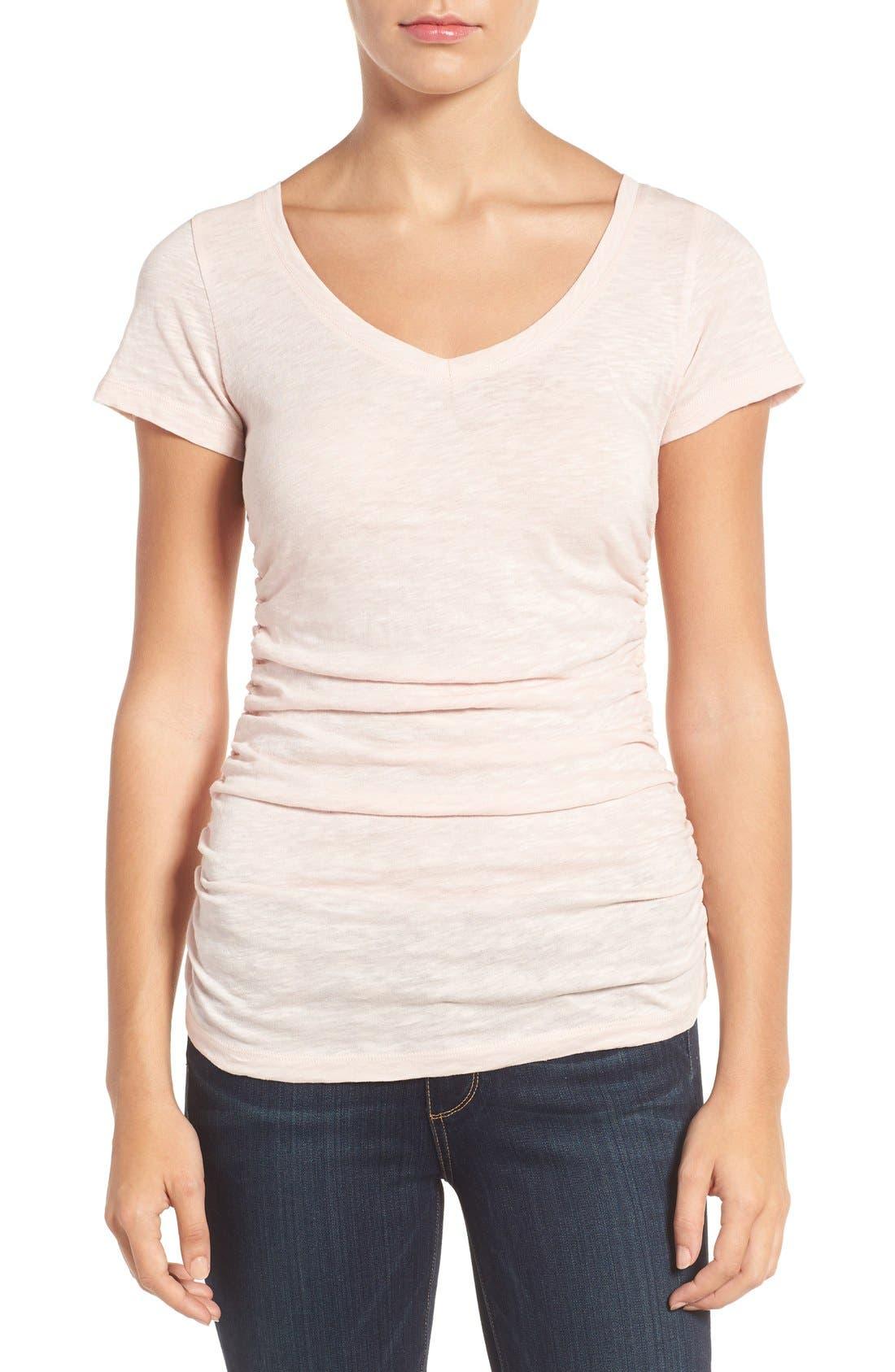 Alternate Image 1 Selected - Caslon® Shirred V-Neck Tee (Regular & Petite)