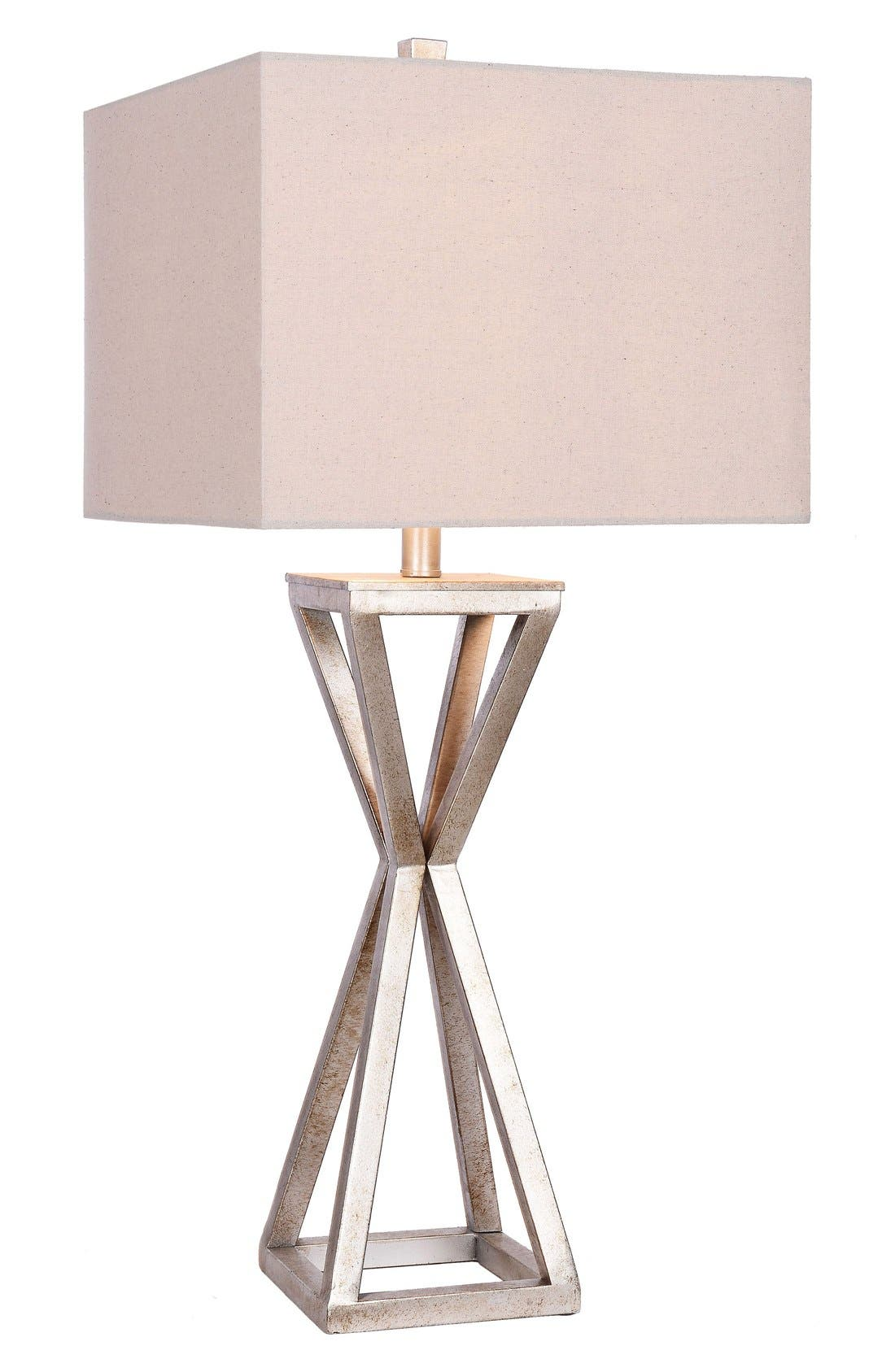 JAlexander Carrie Open Caged Metal Table Lamp,                             Main thumbnail 1, color,                             Silver