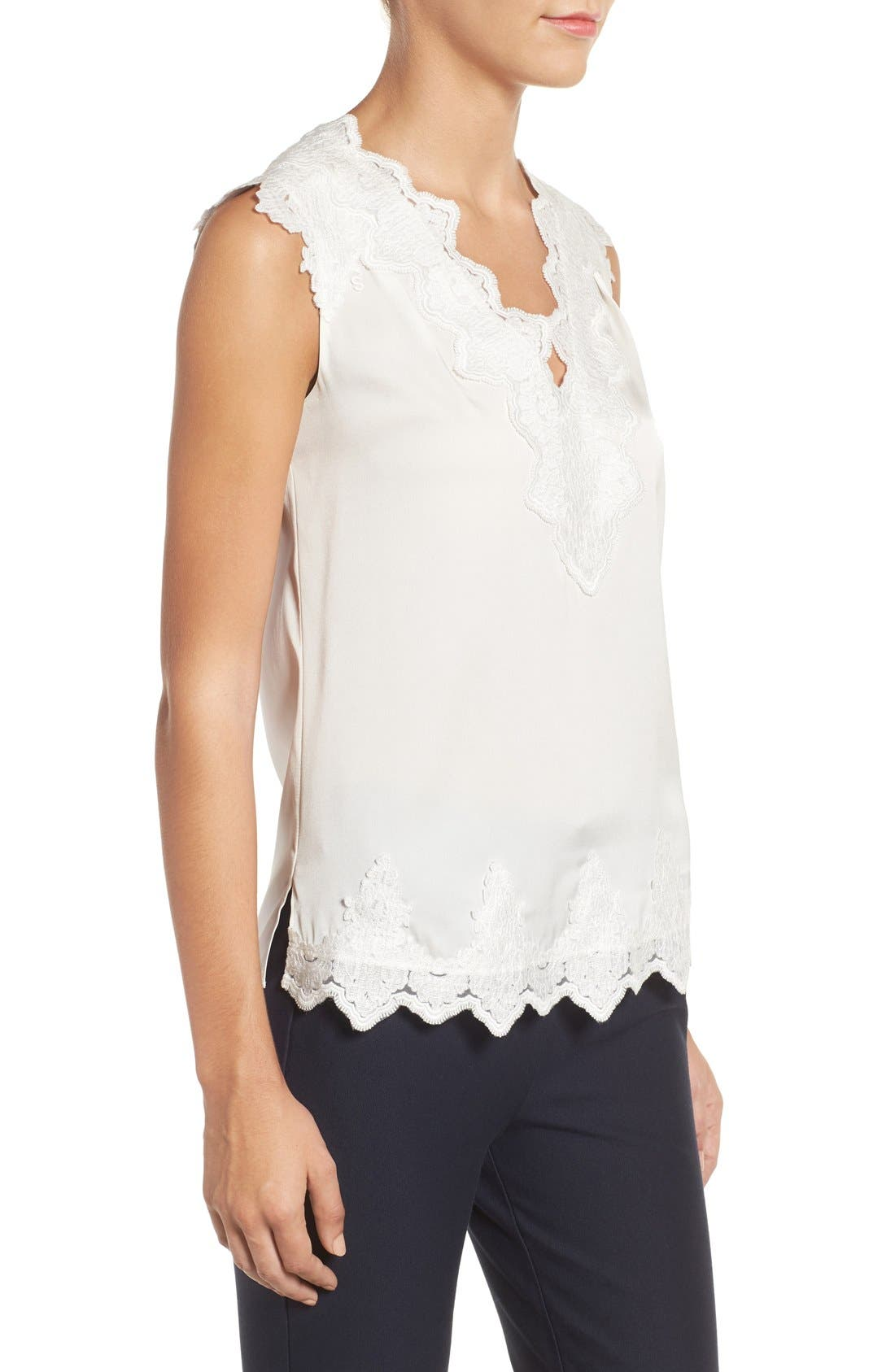 Alternate Image 3  - Kobi Halperin Lana Lace Trim Stretch Silk Blouse