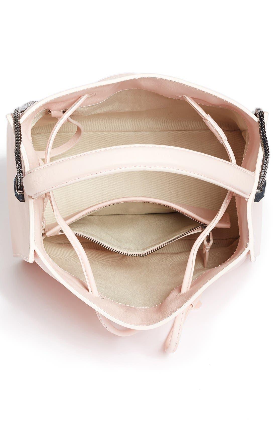Mini Soleil Leather Bucket Bag,                             Alternate thumbnail 4, color,                             Light Pink