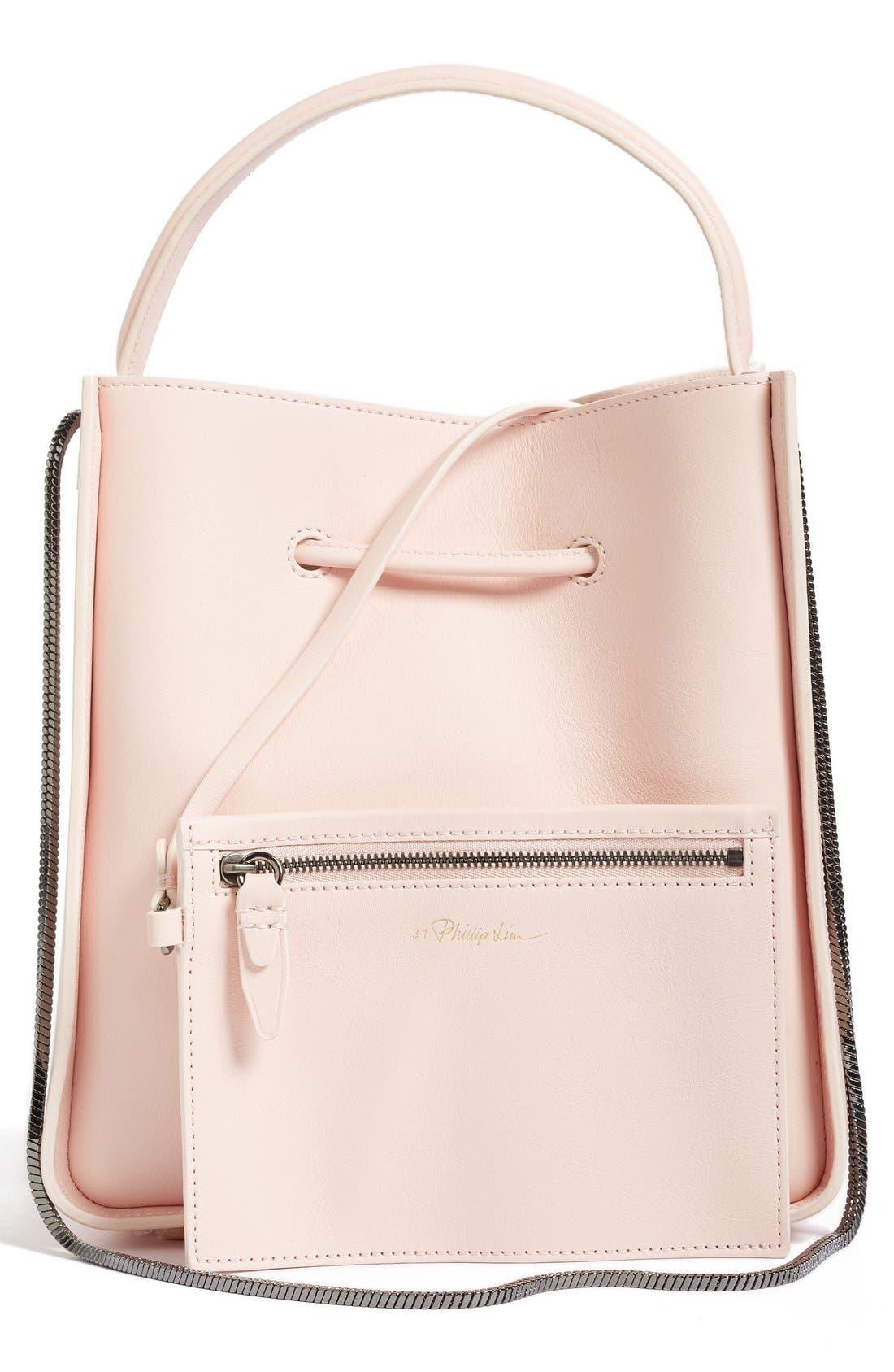 Mini Soleil Leather Bucket Bag,                             Alternate thumbnail 3, color,                             Light Pink