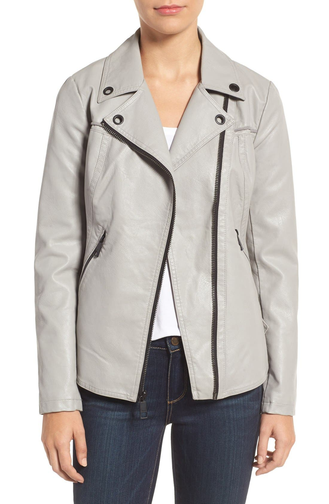 Faux Leather Moto Jacket,                         Main,                         color, Light Grey
