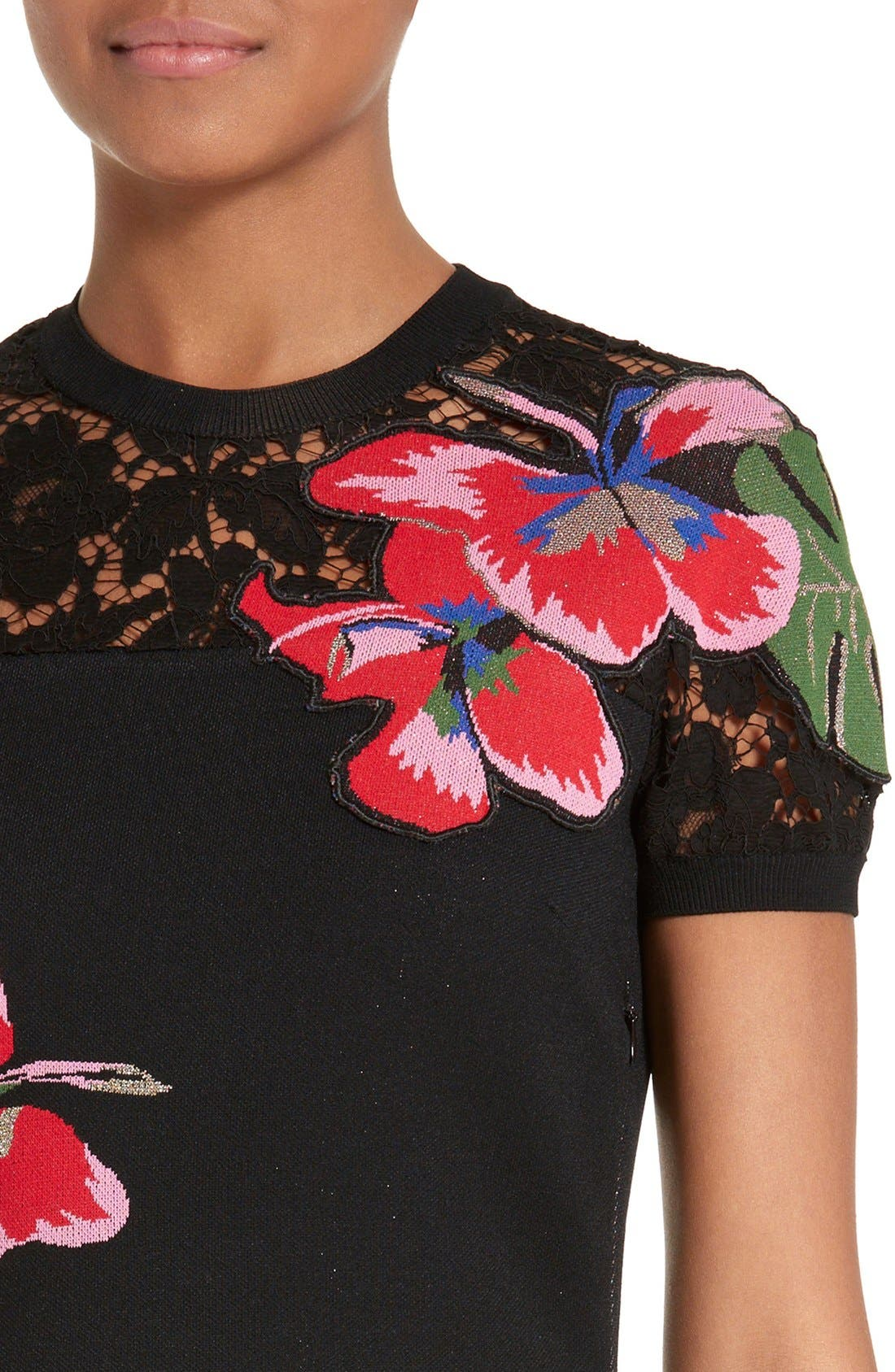 Alternate Image 6  - Valentino Lace Inset Tropical Dream Knit Dress
