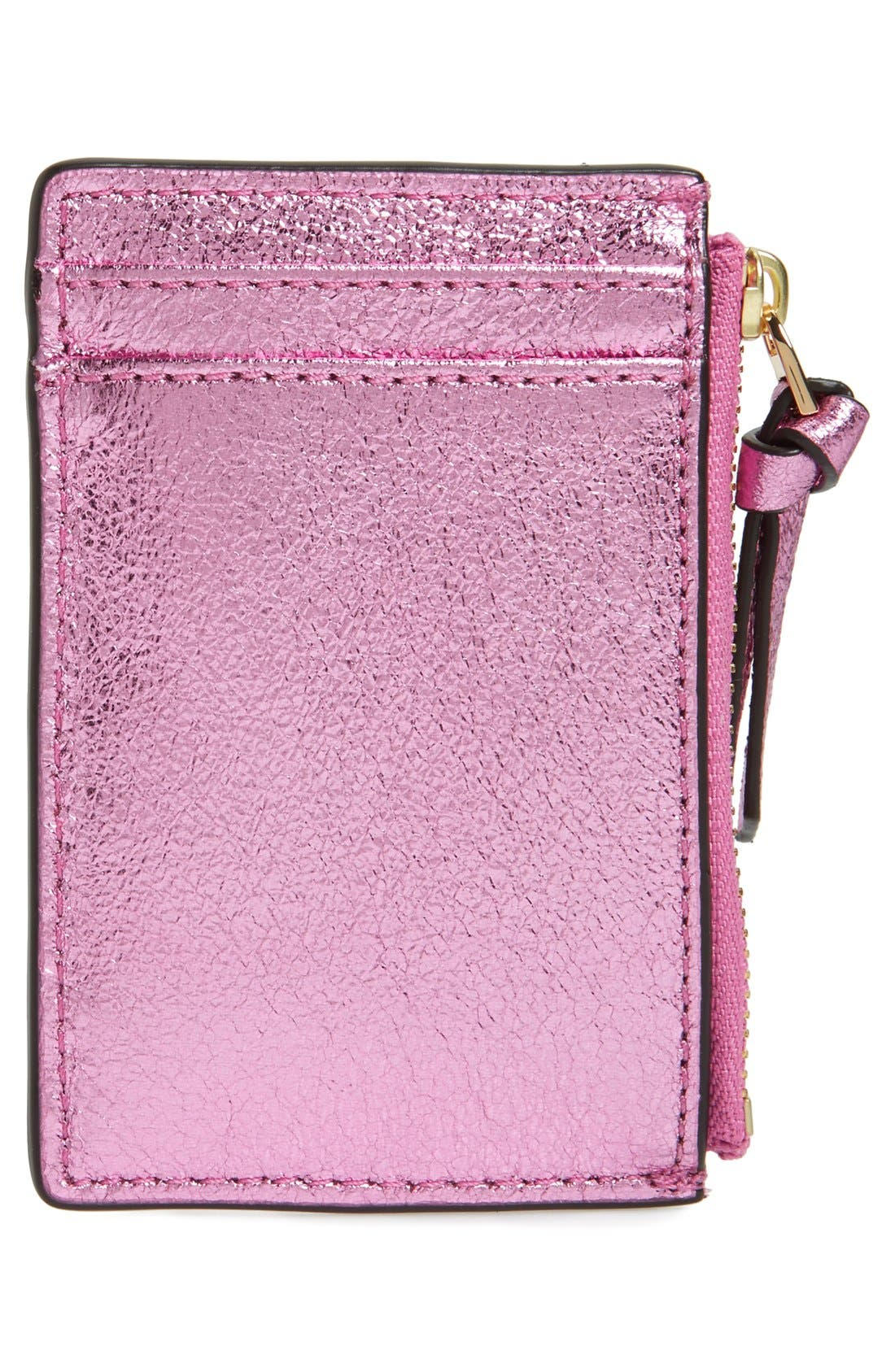 Alternate Image 2  - Tory Burch Crinkle Metallic Leather Card Case