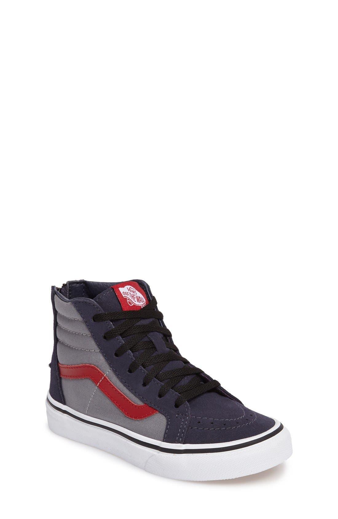 SK8-Hi Zip Pop Sneaker,                             Main thumbnail 1, color,                             Parisian Night/ Racing Red