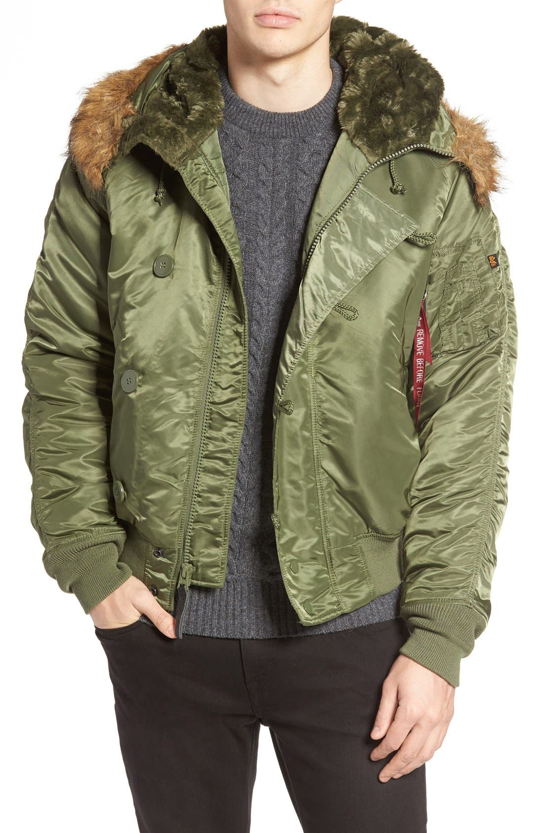 N-2B Short Hooded Parka,                         Main,                         color, Sage Green