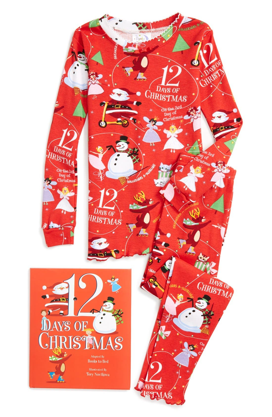 Alternate Image 1 Selected - Books to Bed 12 Days of Christmas Fitted Two-Piece Pajamas & Book Set (Toddler Girls, Little Girls & Big Girls)