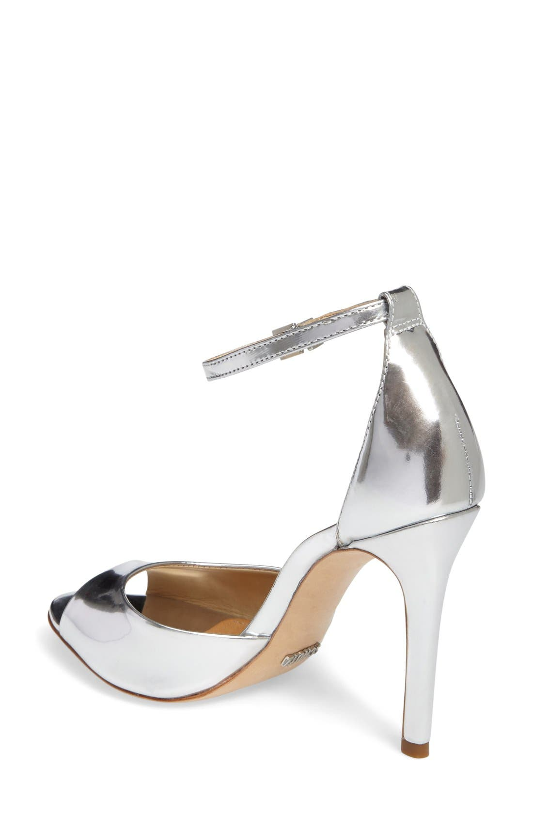 Saasha Lee Ankle Strap Sandal,                             Alternate thumbnail 2, color,                             Silver Leather