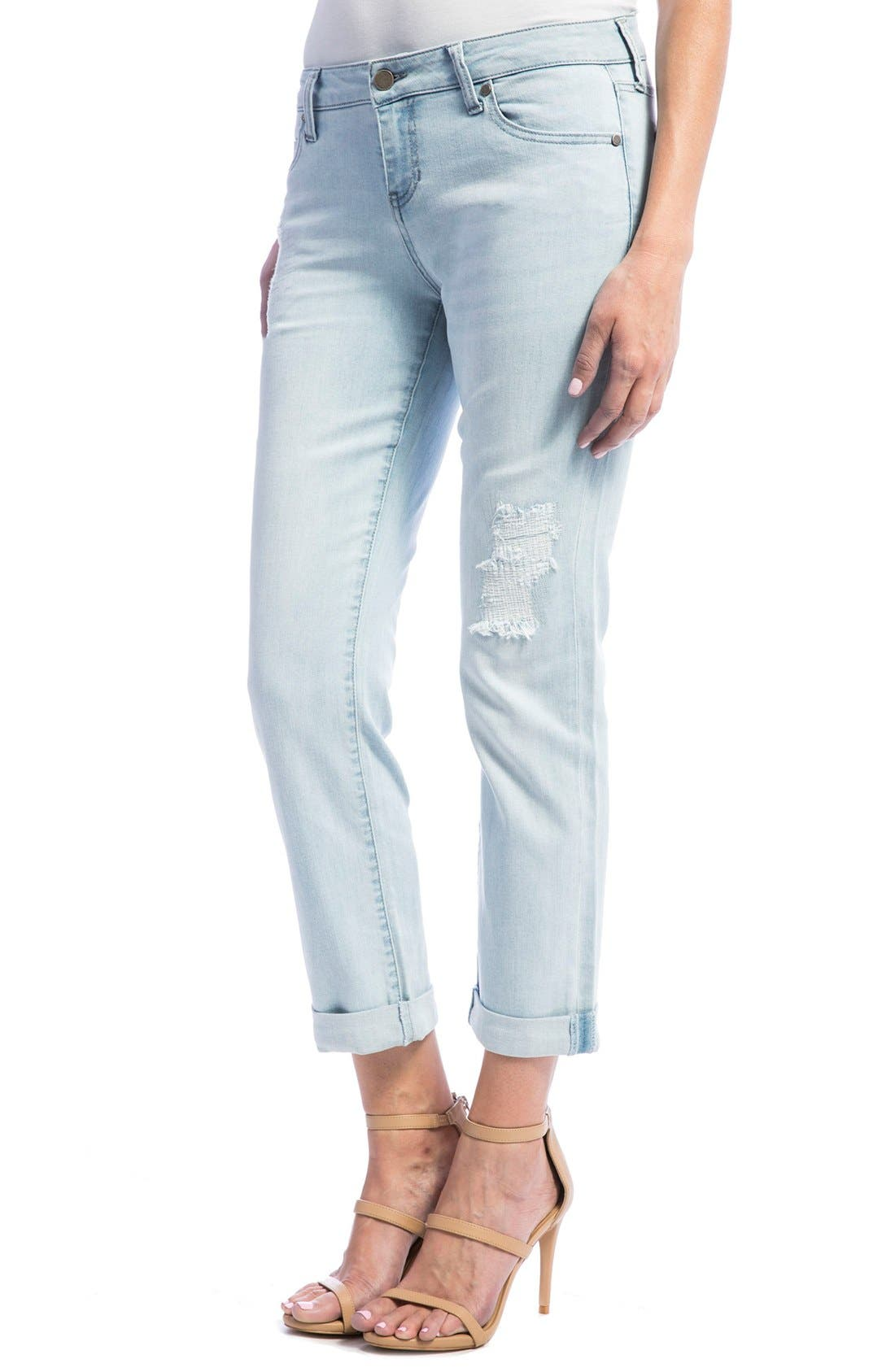 Peyton Slim Stretch Crop Boyfriend Jeans,                             Alternate thumbnail 3, color,                             Super Bleach Out