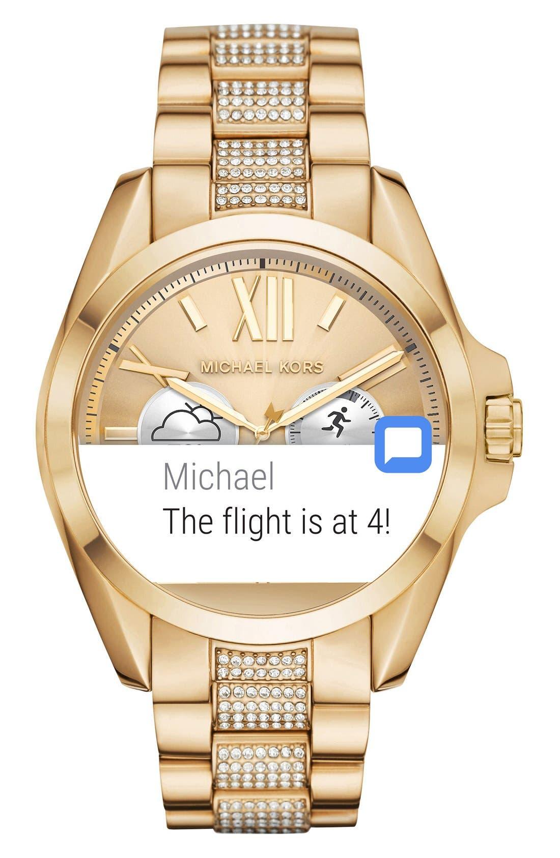 MICHAEL Michael Kors Bradshaw Access Bracelet Smart Watch, 45mm,                             Alternate thumbnail 3, color,                             Gold/ Silver