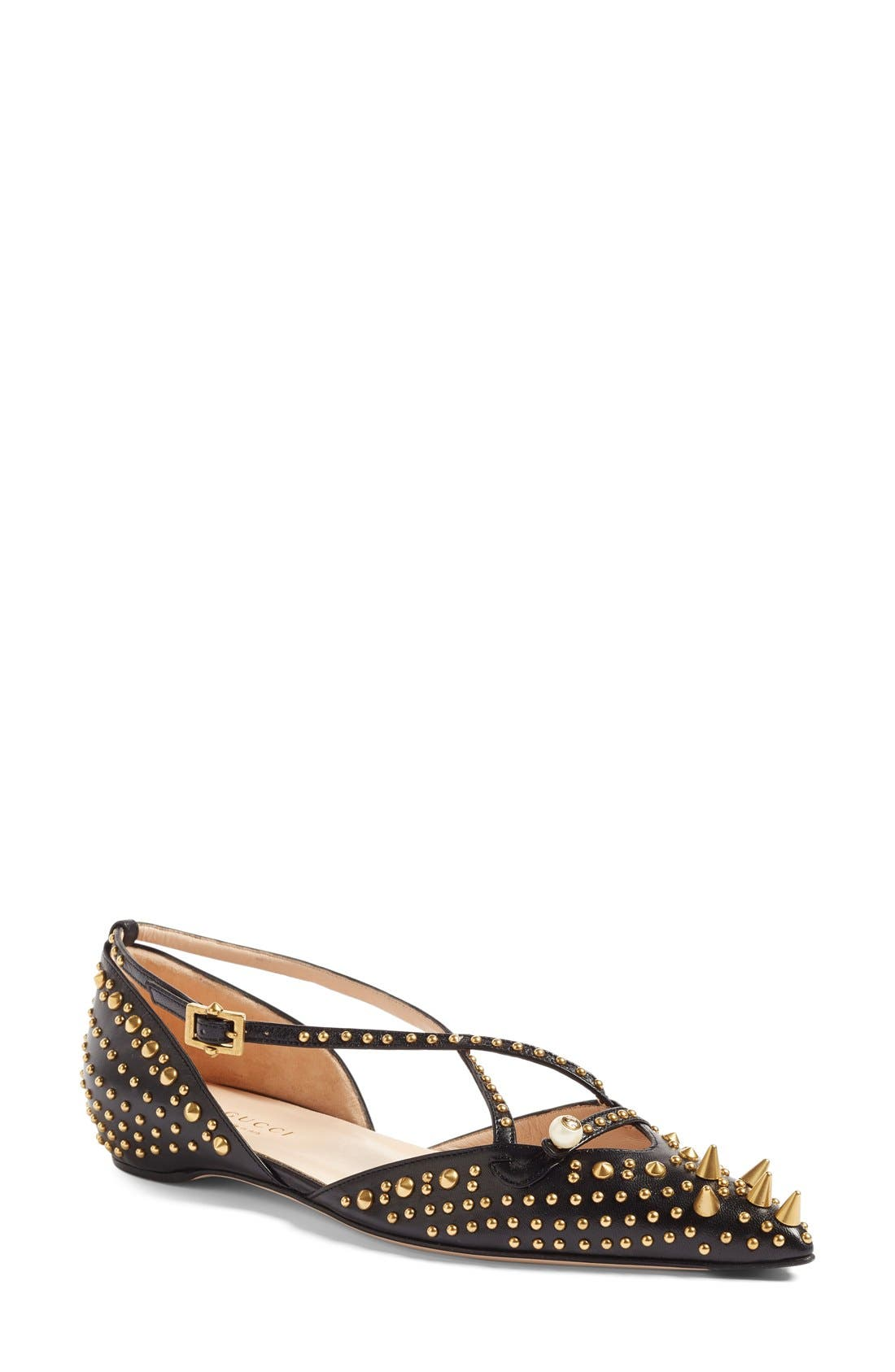 Alternate Image 1 Selected - Gucci Unia Studded Flat (Women)