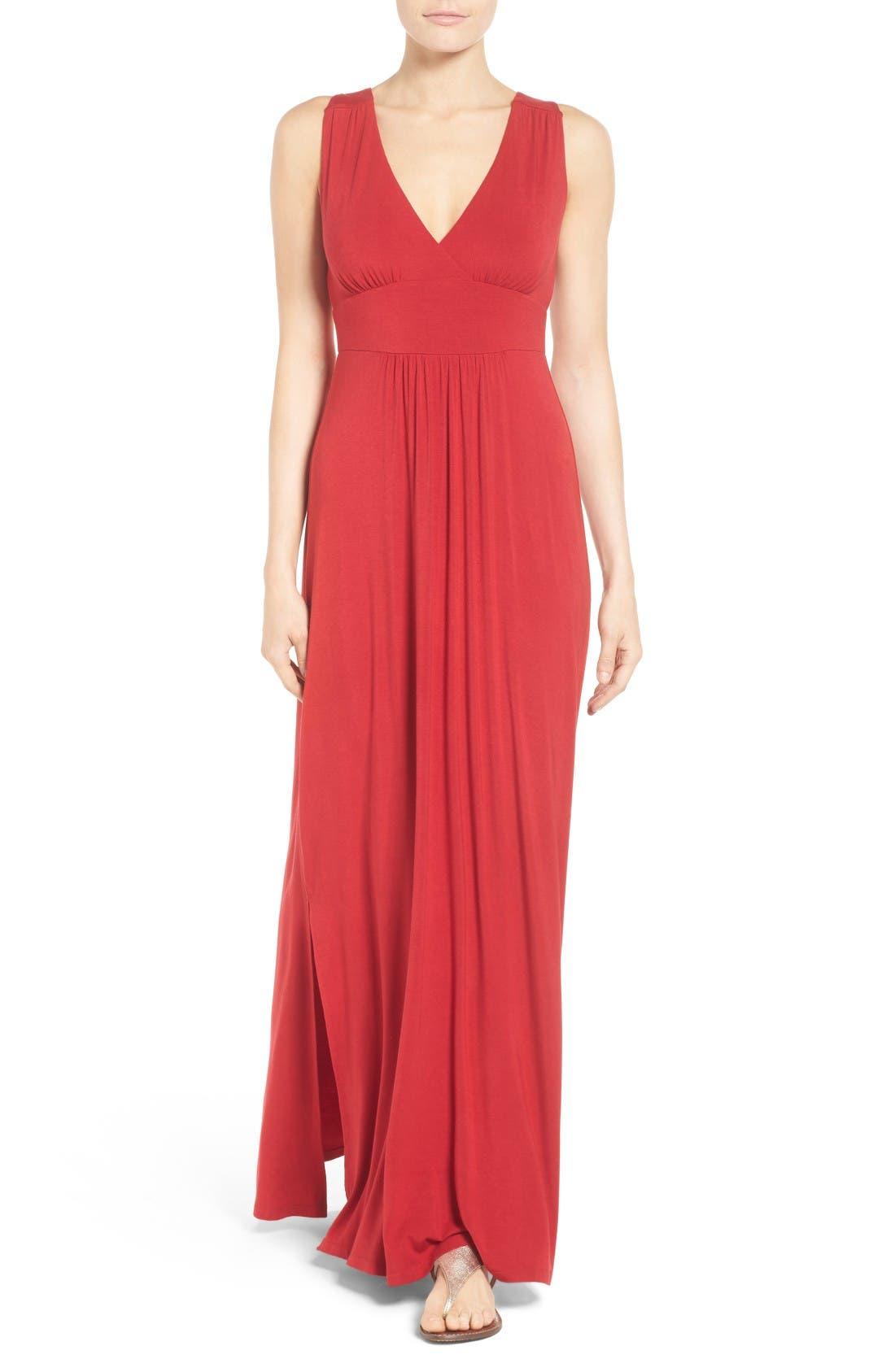 Knit Maxi Dress,                             Main thumbnail 1, color,                             Red Chili