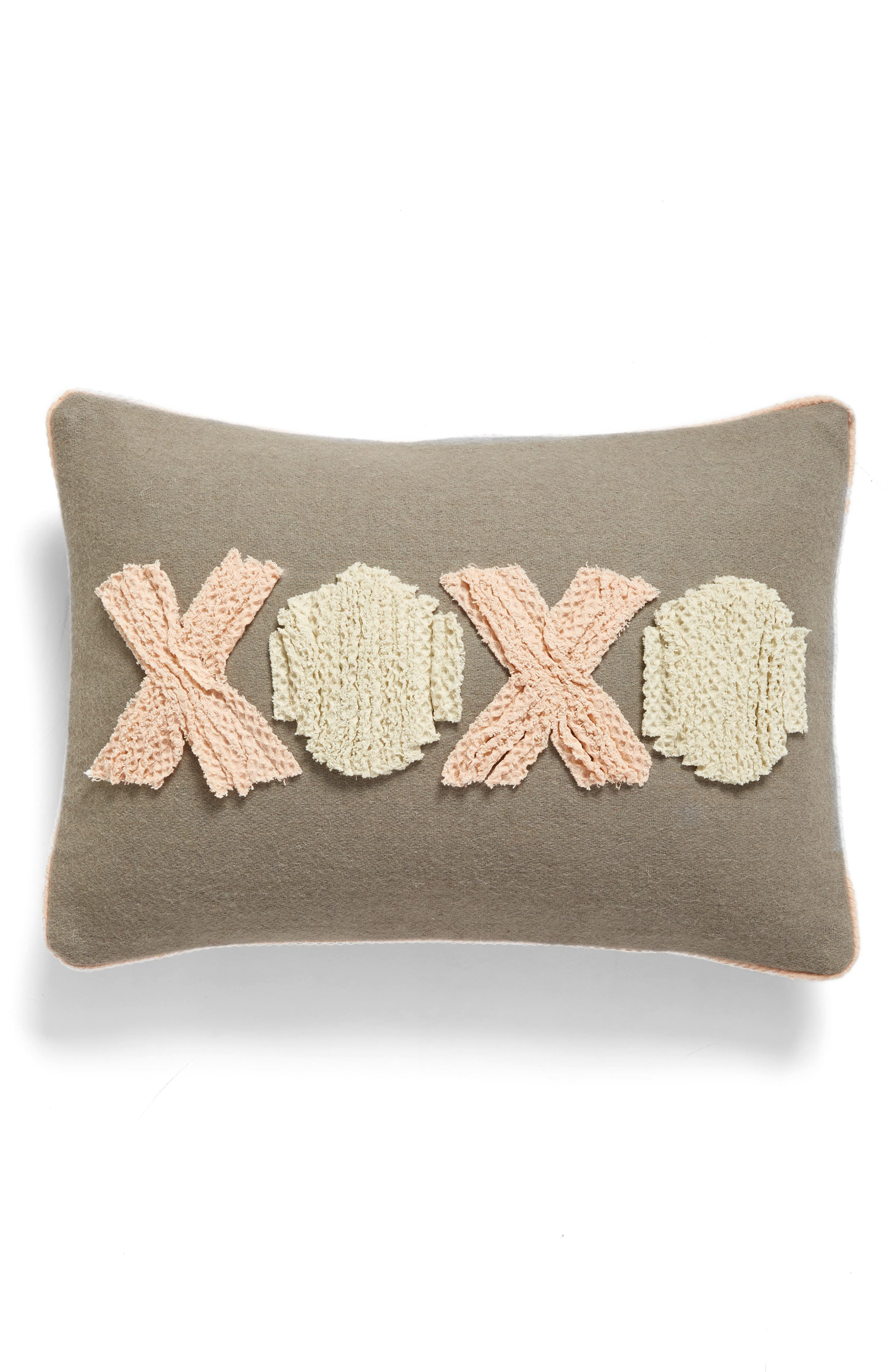 XOXO Accent Pillow,                             Main thumbnail 1, color,                             Grey Heather Multi