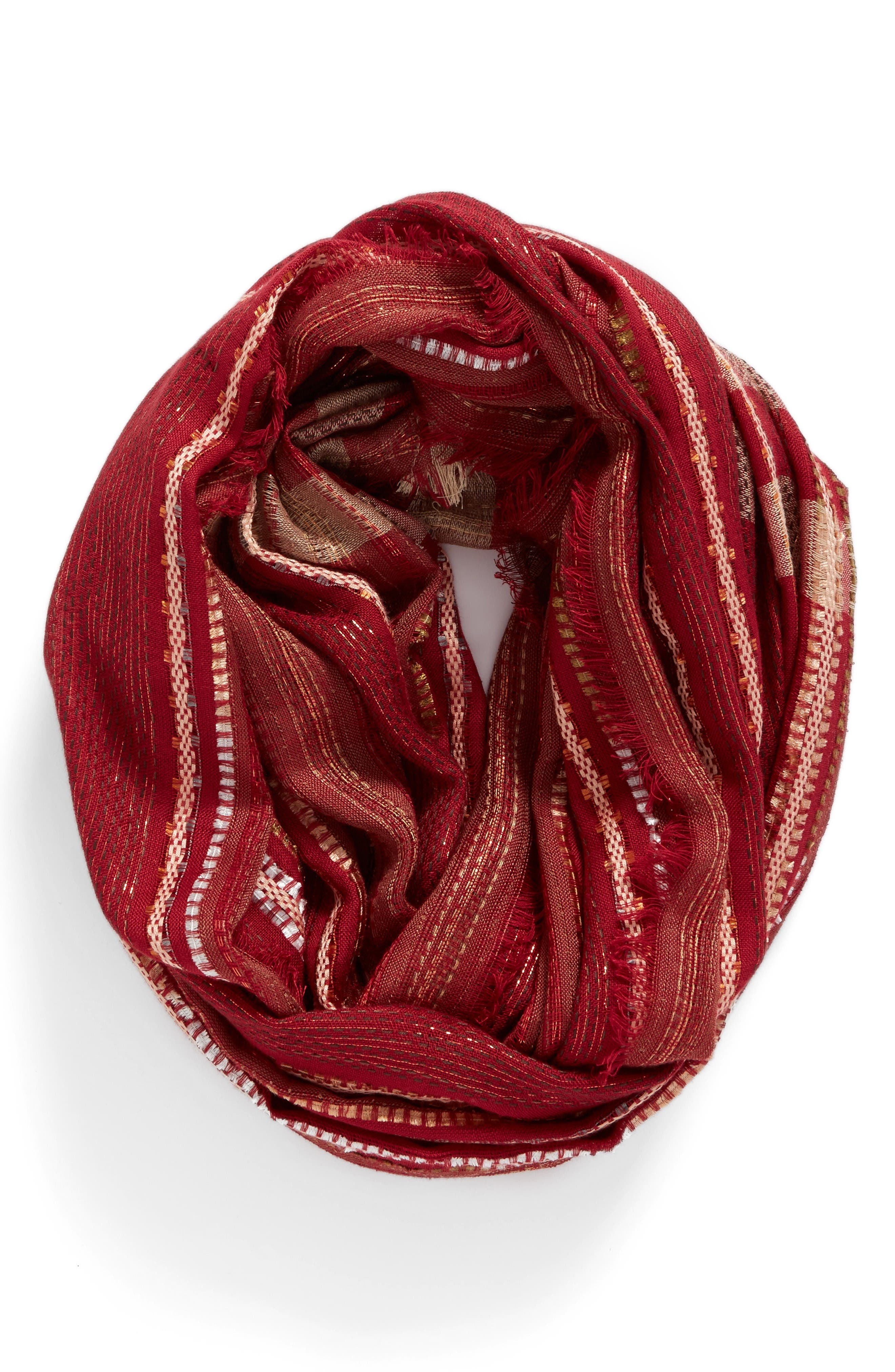 Alternate Image 1 Selected - La Double 7 Metallic Plaid Infinity Scarf (Special Purchase)