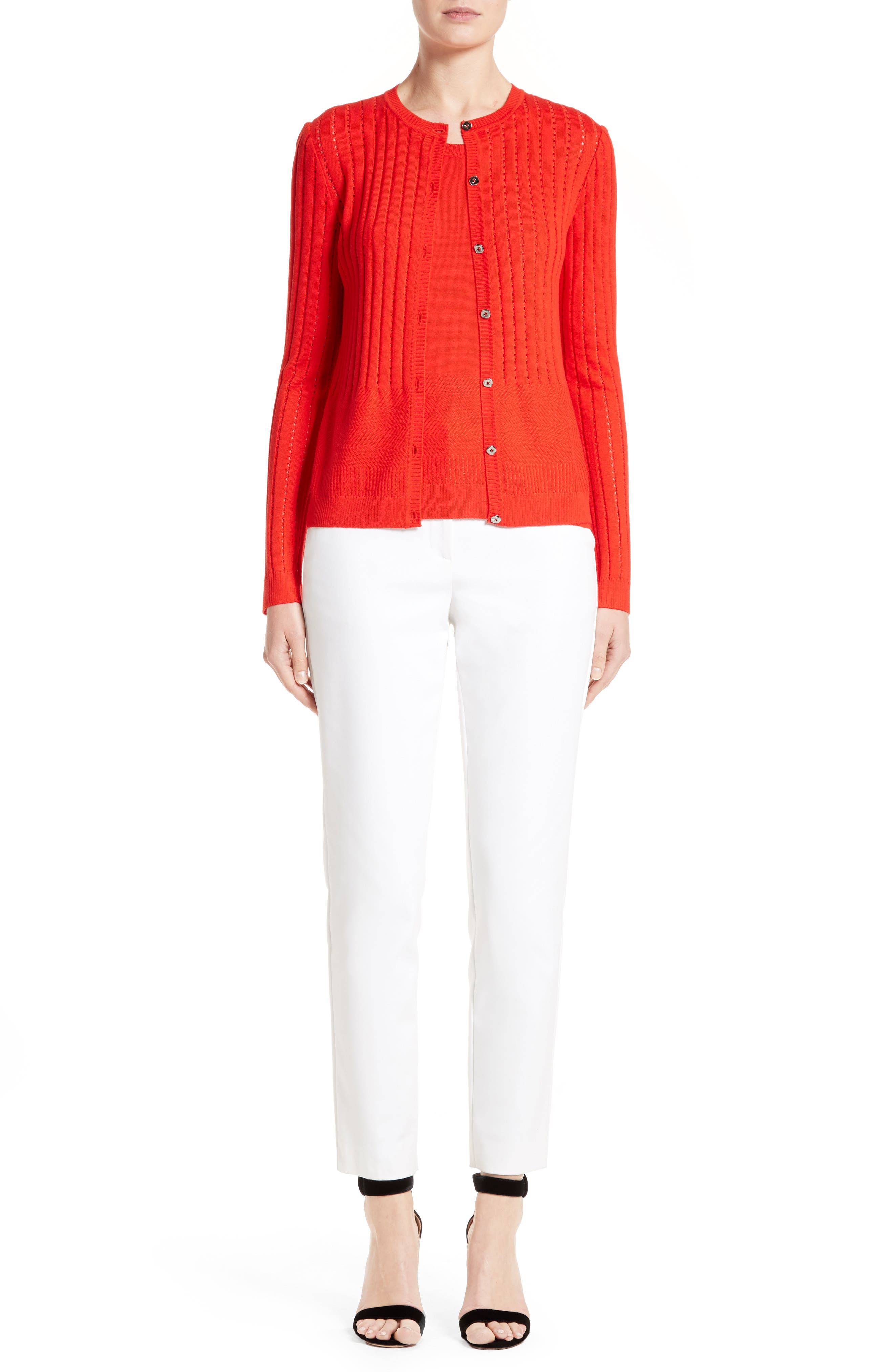 St. John Collection Cardigan, Shell & Pants Outfit with Accessories