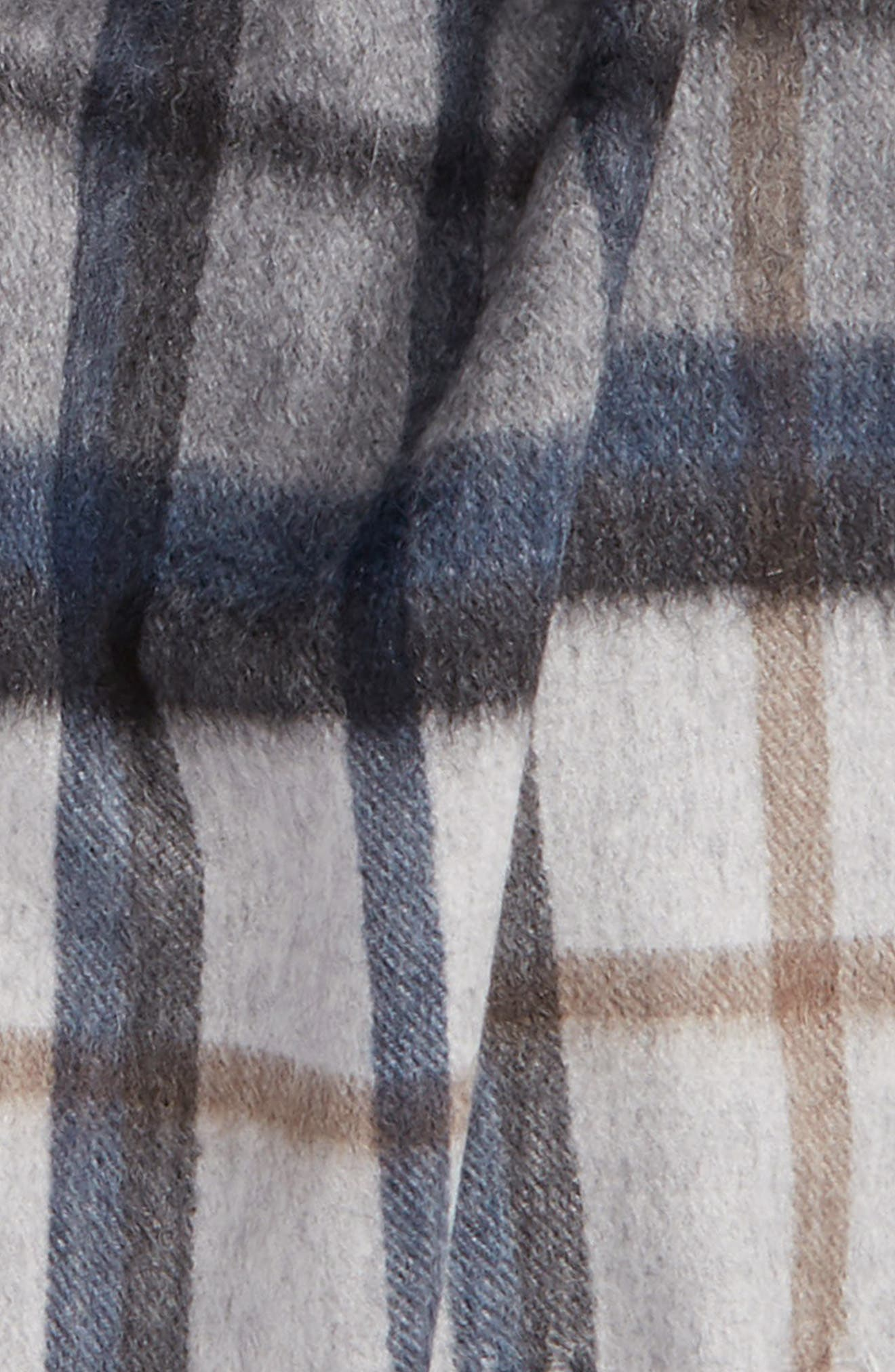 Plaid Cashmere Scarf,                             Alternate thumbnail 3, color,                             Light Grey/ Heather Slate