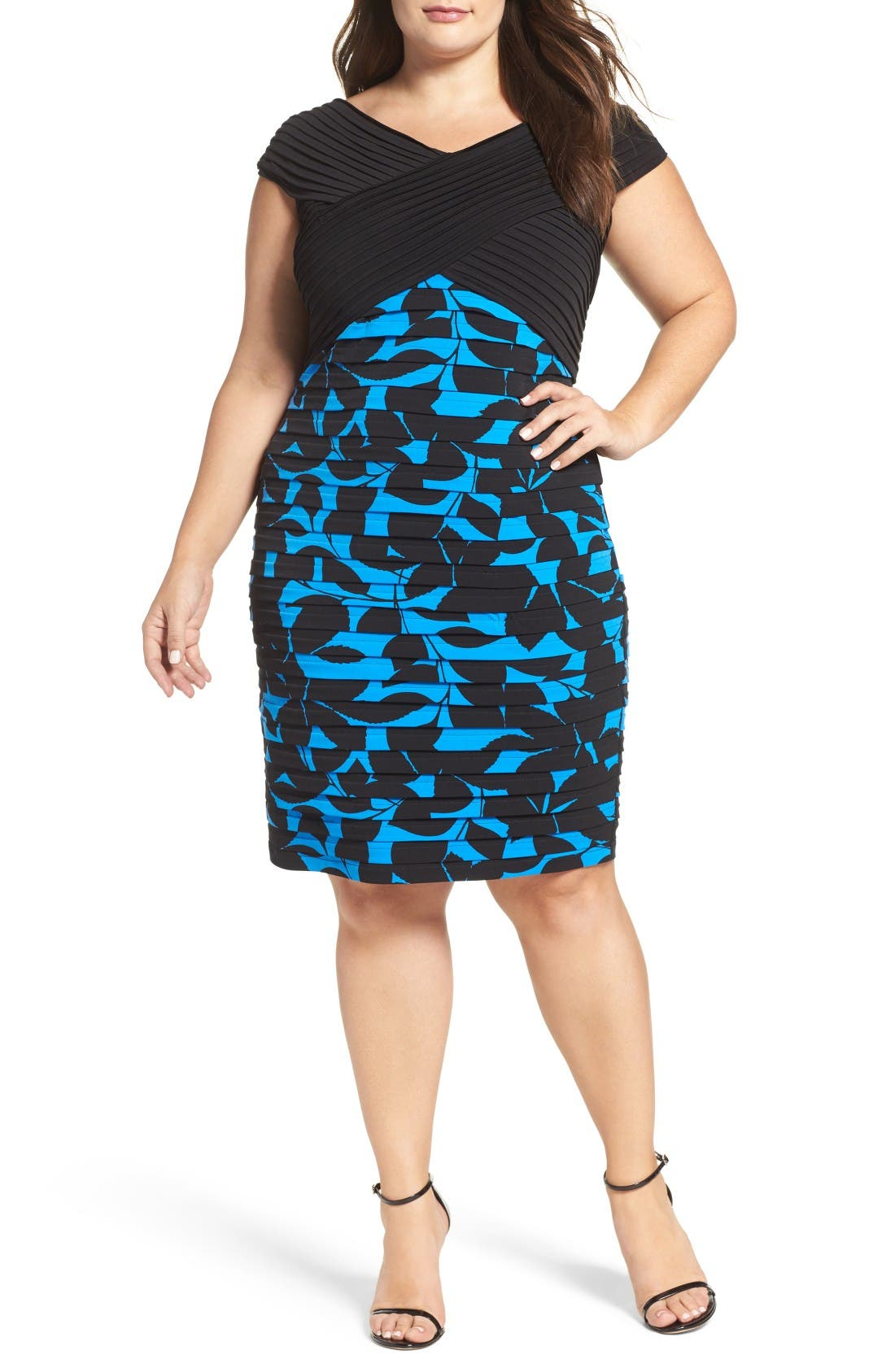 Pintuck & Shutter Pleat Sheath Dress,                         Main,                         color, Black/Blue