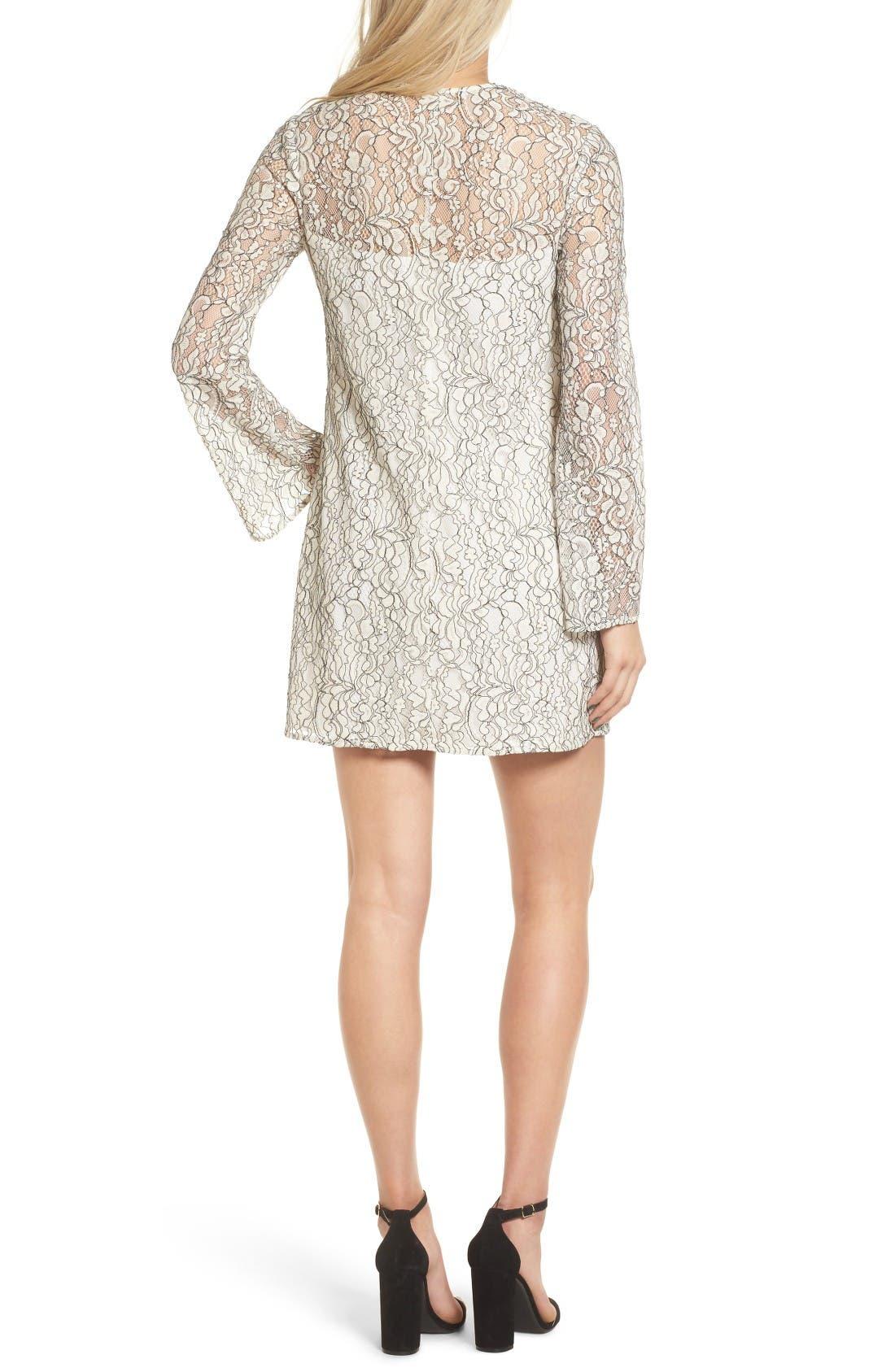 Lace Bell Sleeve Shift Dress,                             Alternate thumbnail 2, color,                             Ivory/ Black
