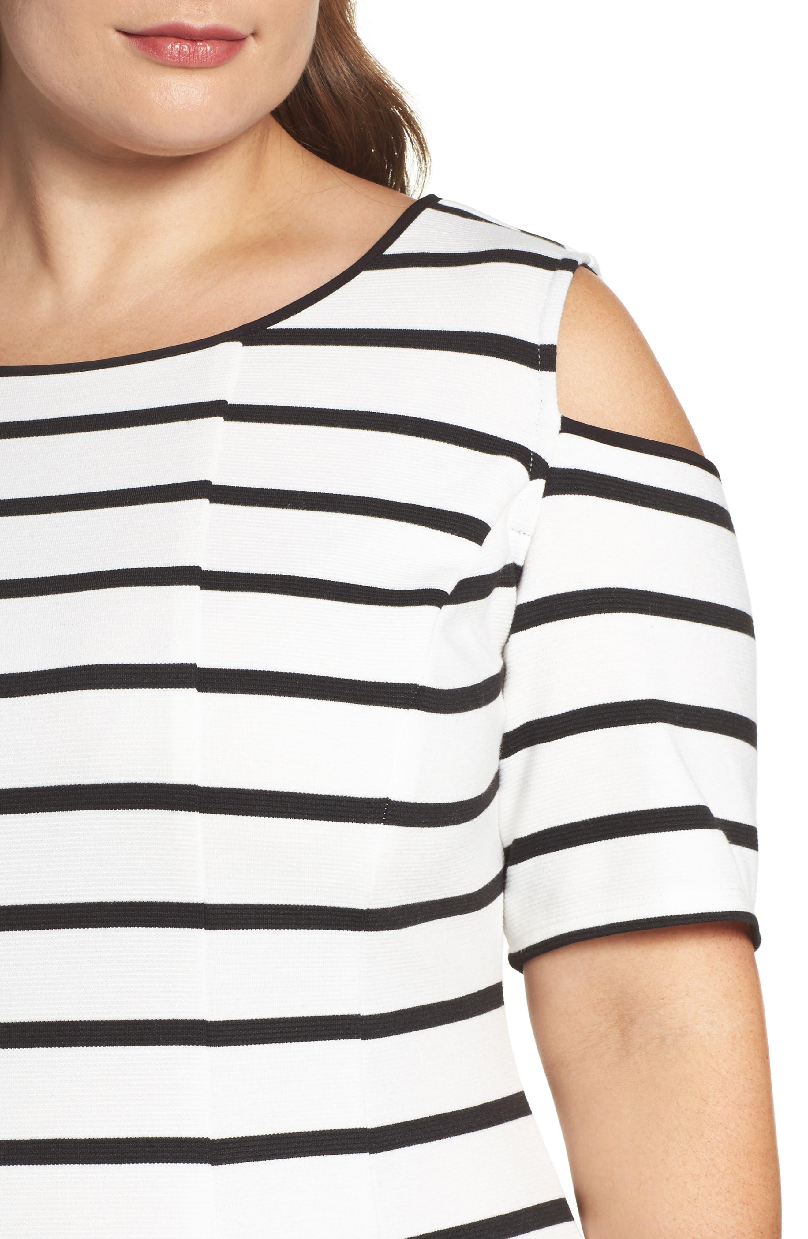 Alternate Image 4  - Gabby Skye Cold Shoulder Fit & Flare Dress (Plus Size)