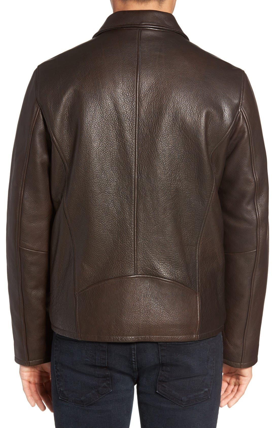 Alternate Image 2  - Vince Camuto Leather Zip Front Jacket