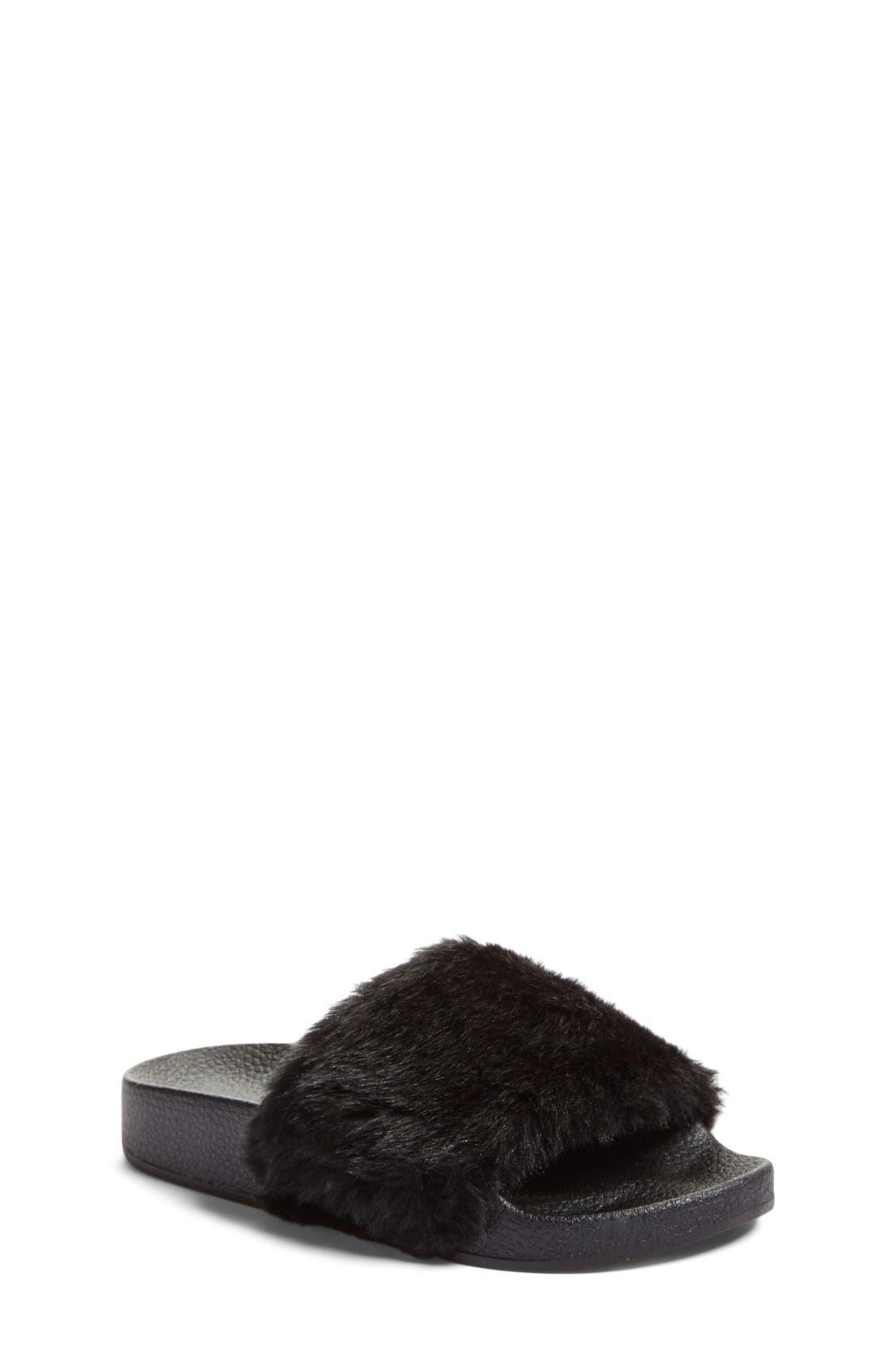 Softey Slide,                             Main thumbnail 1, color,                             Black Faux Fur