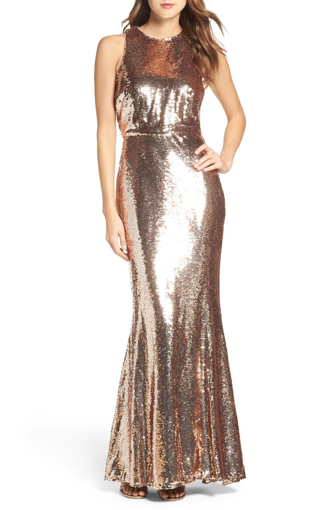 Sequin Mermaid Gown,                             Main thumbnail 1, color,                             Rose Gold