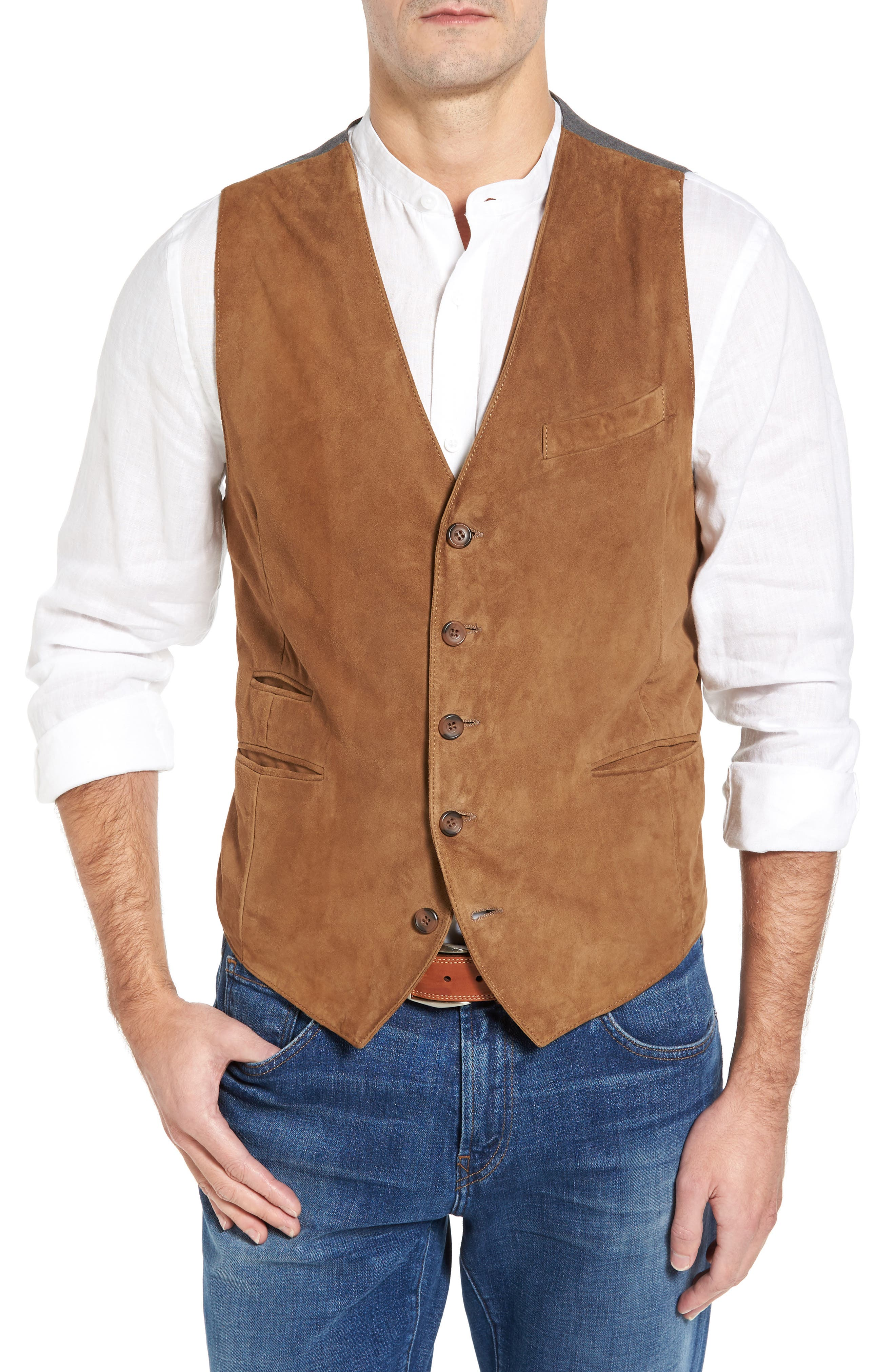 Lamb Front Vest,                         Main,                         color, Tobacco