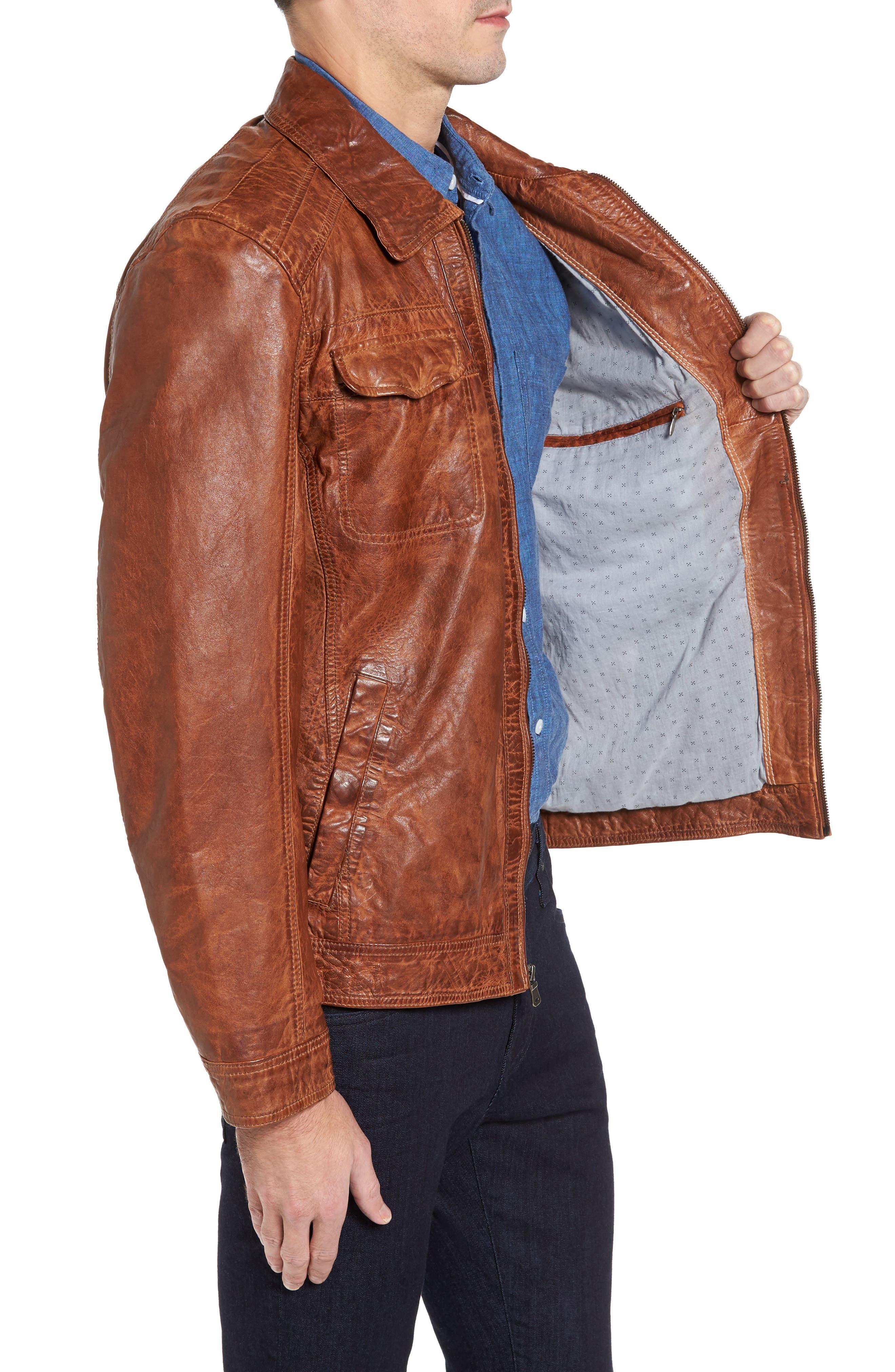 Washed Lamb Leather Jacket,                             Alternate thumbnail 3, color,                             Cognac