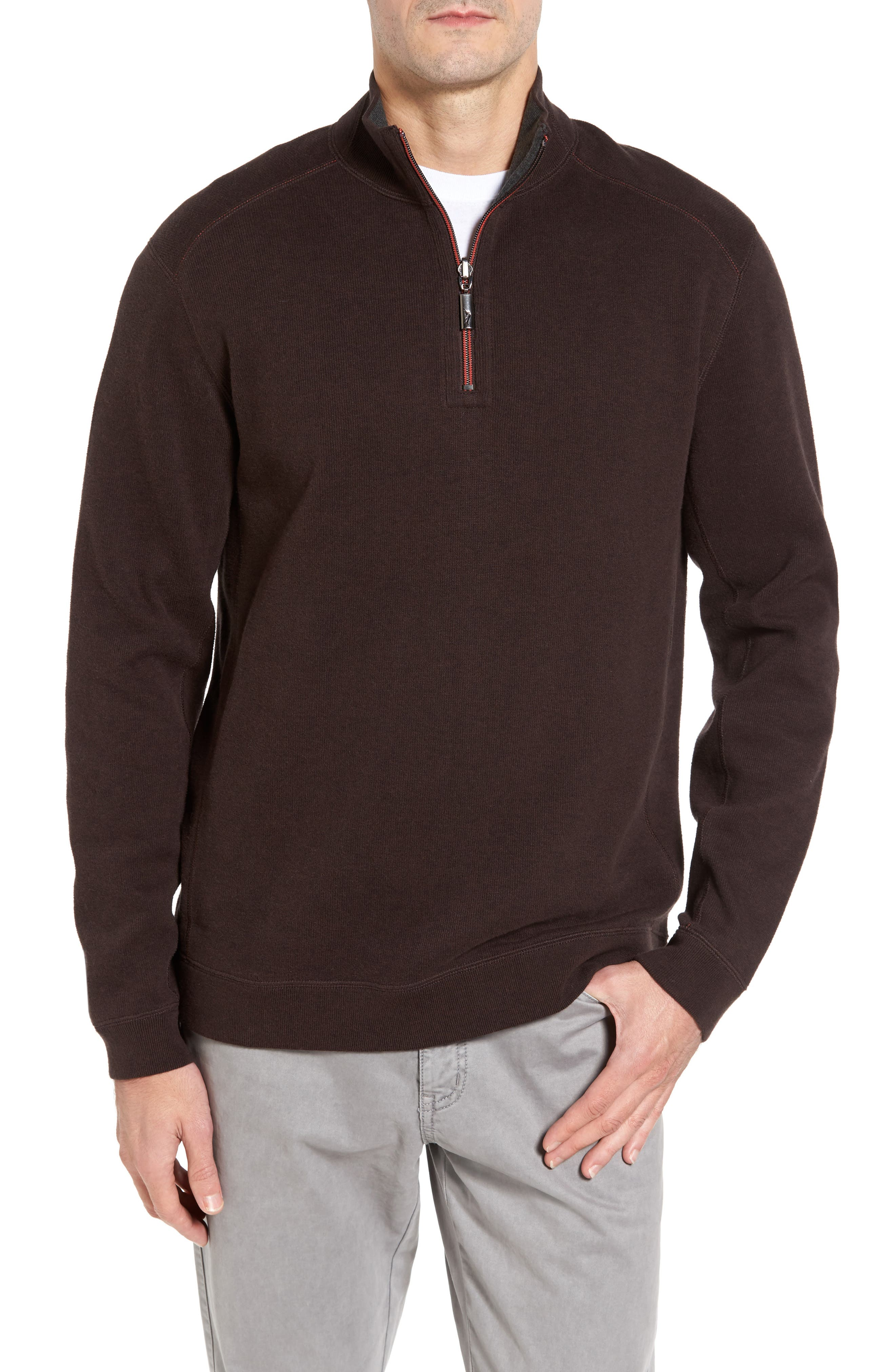 Main Image - Tommy Bahama Flip Side Reversible Quarter Zip Twill Pullover