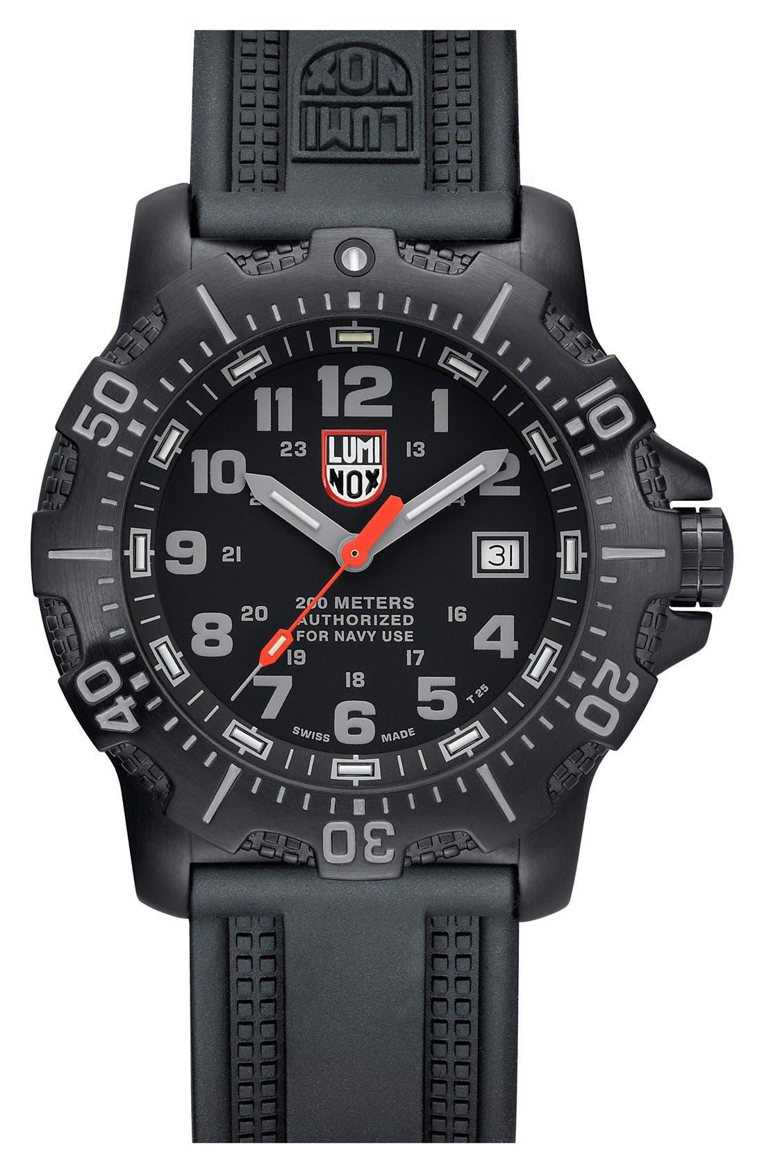 'Sea - ANU' Polyurethane Strap Watch, 45mm,                         Main,                         color, Black/ Black/ Grey