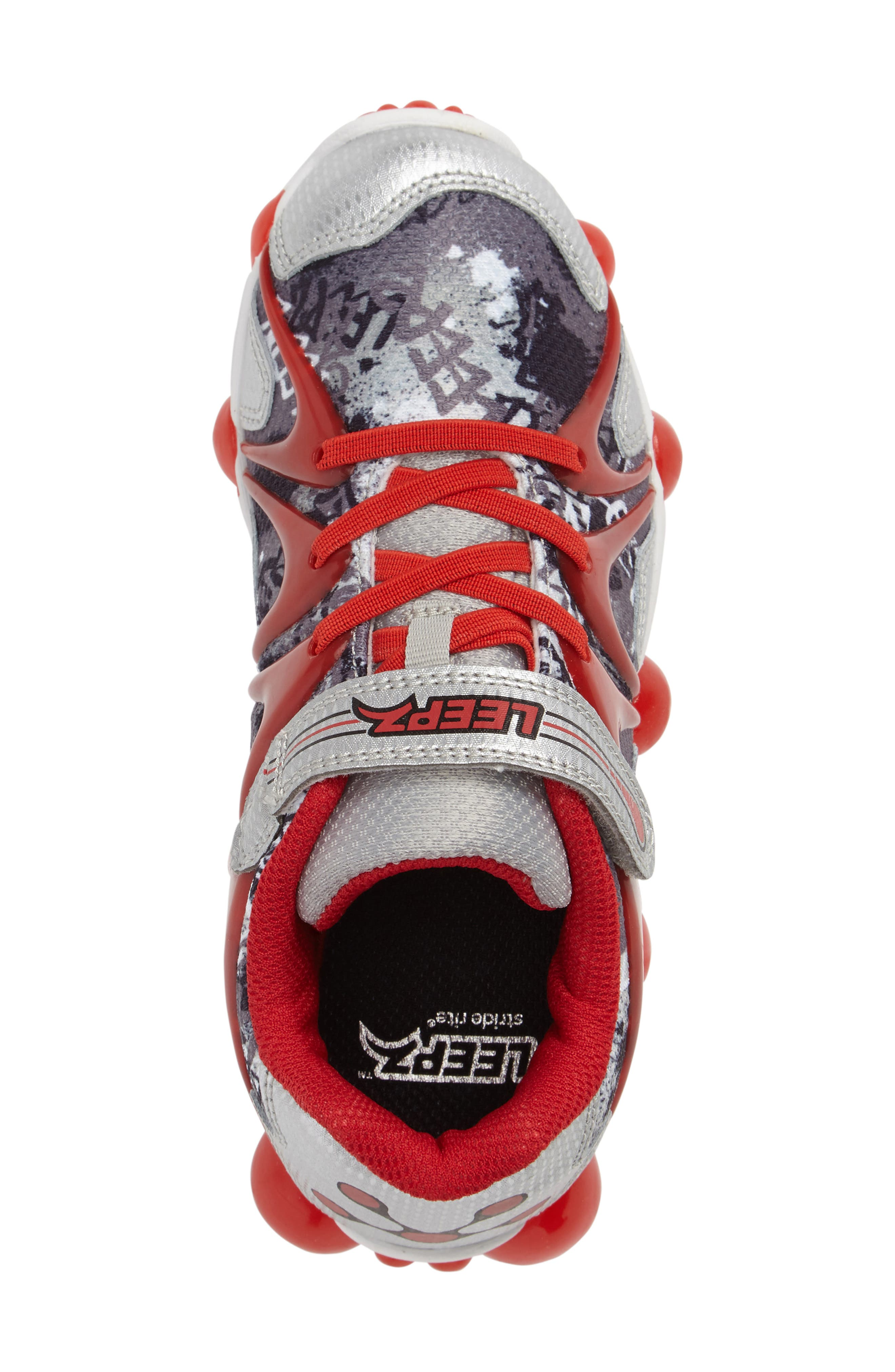 'Leepz' Light-Up Sneaker,                             Alternate thumbnail 3, color,                             Red/ Silver