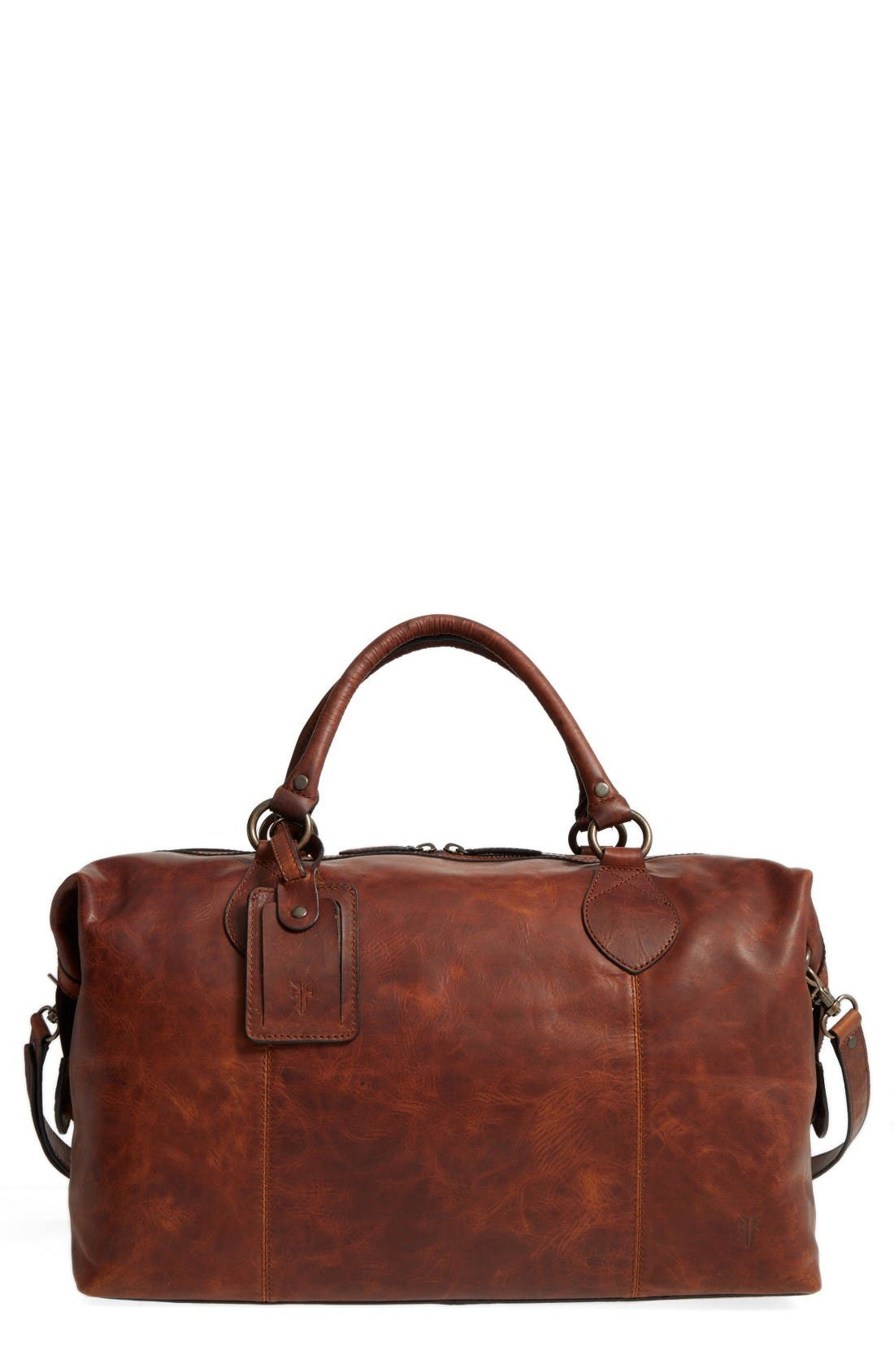'Logan' Leather Overnight Bag - Brown (Online Only) in Cognac
