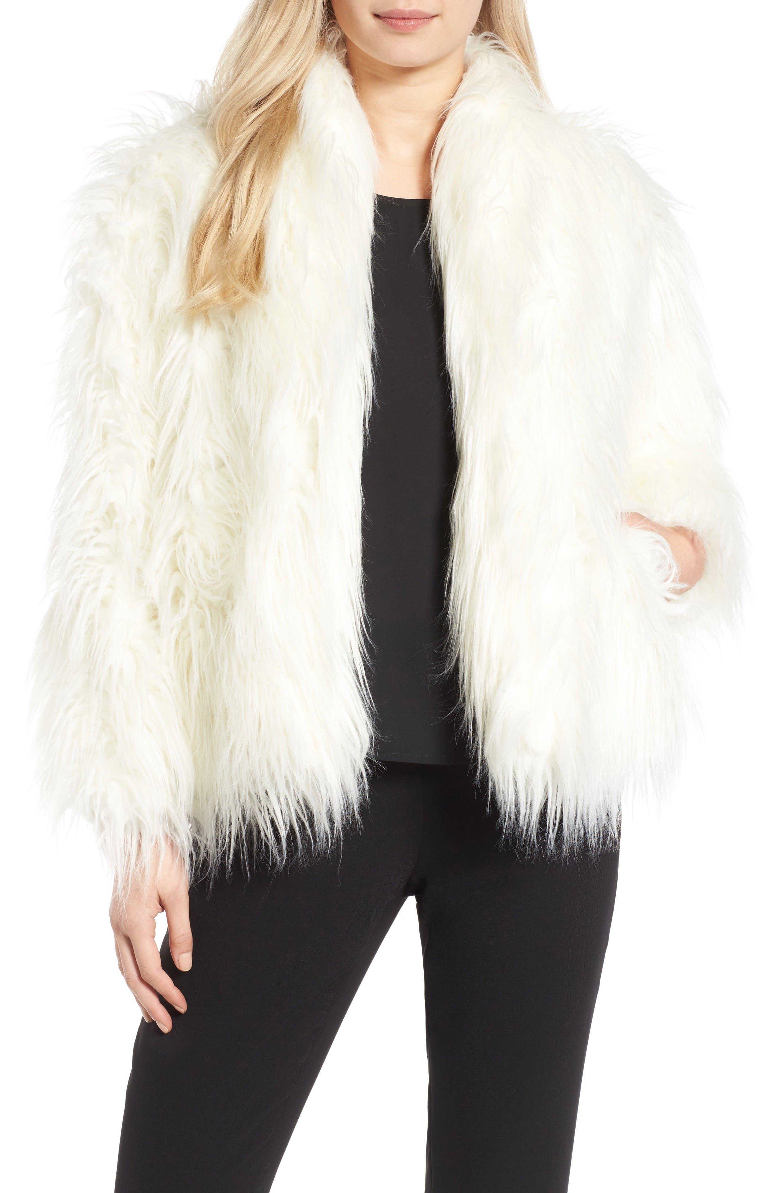 Main Image - Olivia Palermo + Chelsea28 Open Front Faux Fur Jacket
