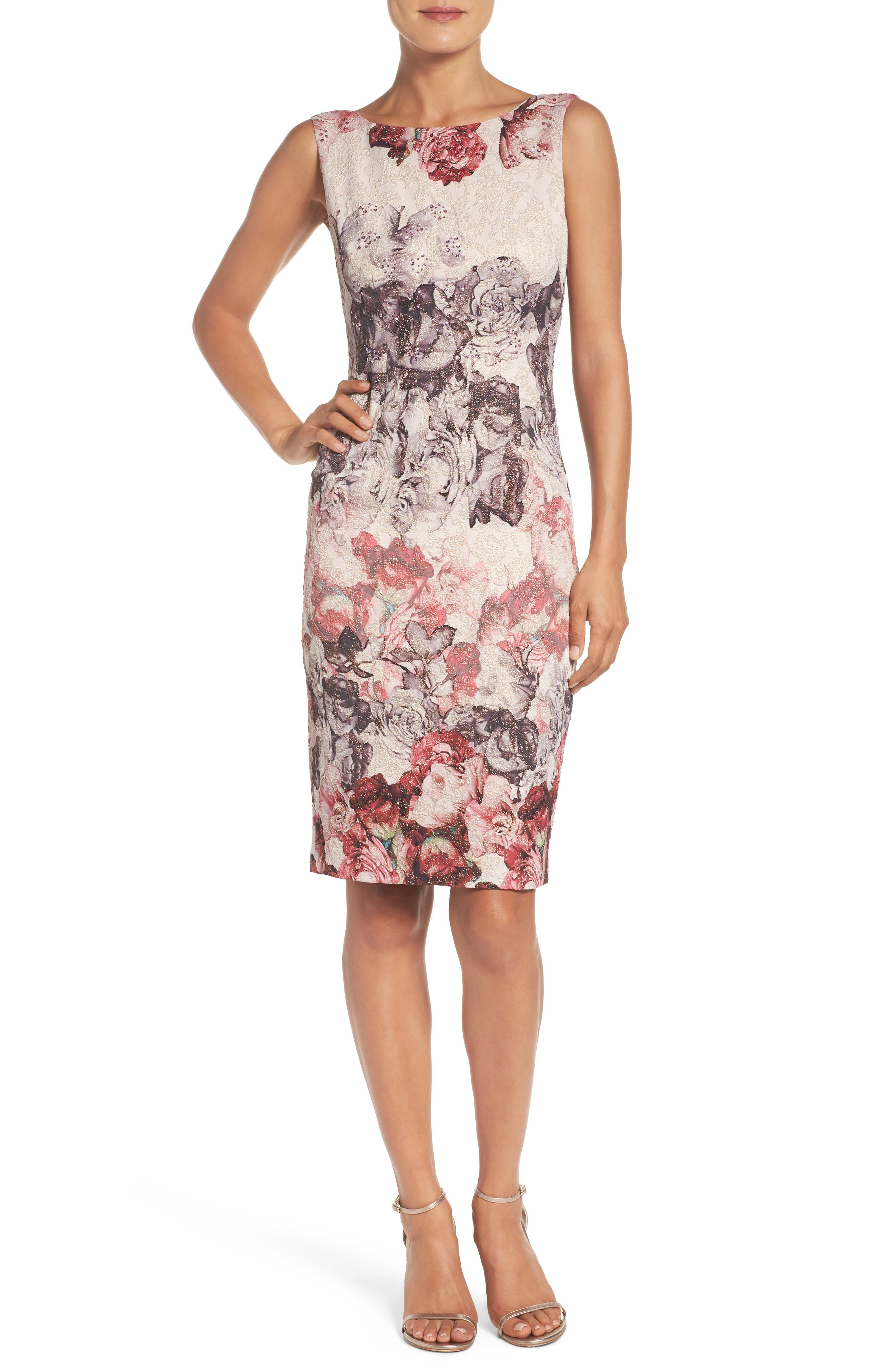 Alternate Image 4  - Adrianna Papell Embellished Sheath Dress (Regular & Petite)