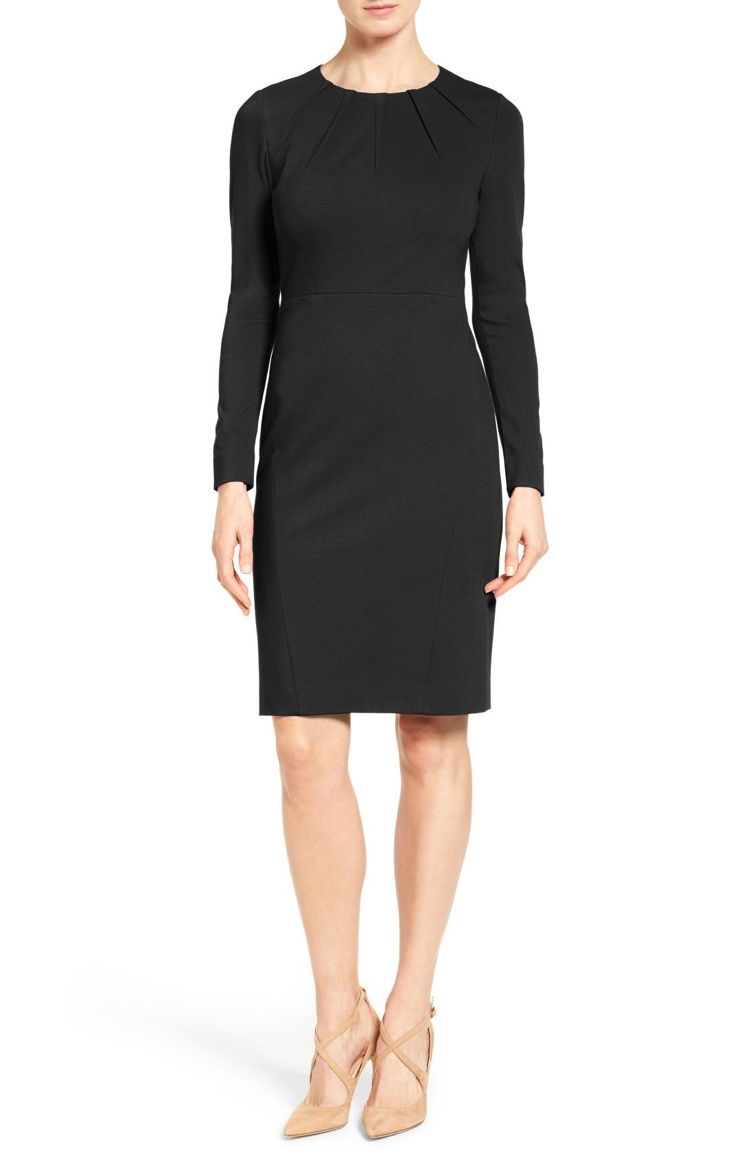 Main Image - Classiques Entier® Pleat Neck Italian Ponte Sheath Dress