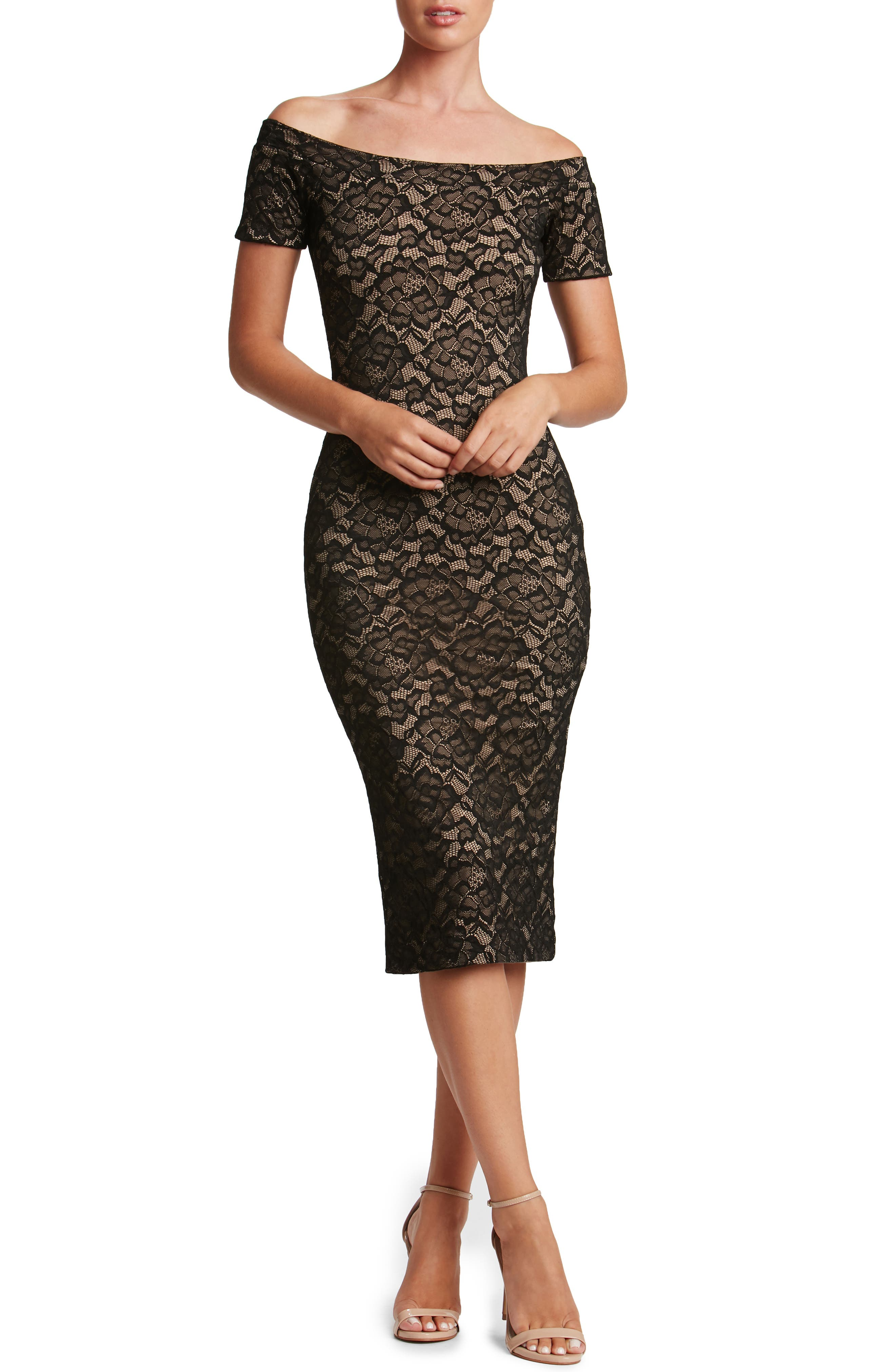 Jemma Midi Dress,                         Main,                         color, Black/ Nude