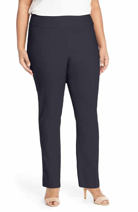 NIC+ZOE 'Wonder Stretch' Straight Leg Pants (Plus Size)